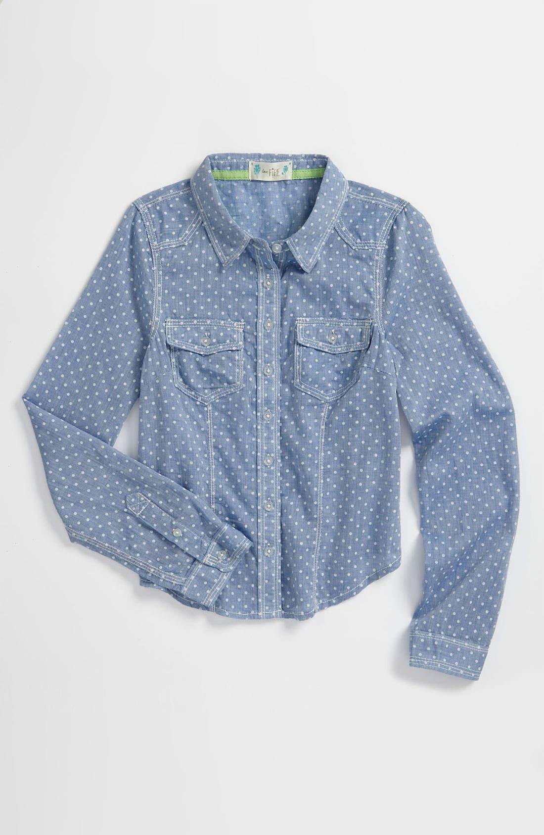 Alternate Image 1 Selected - Fire Polka Dot Chambray Shirt (Little Girls & Big Girls)