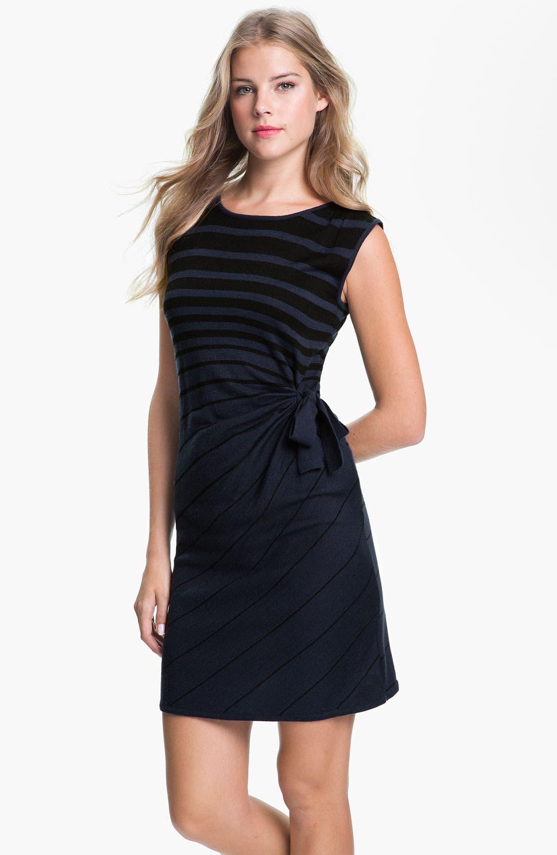 Alternate Image 1 Selected - Tahari Stripe Side Tie Sweater Dress