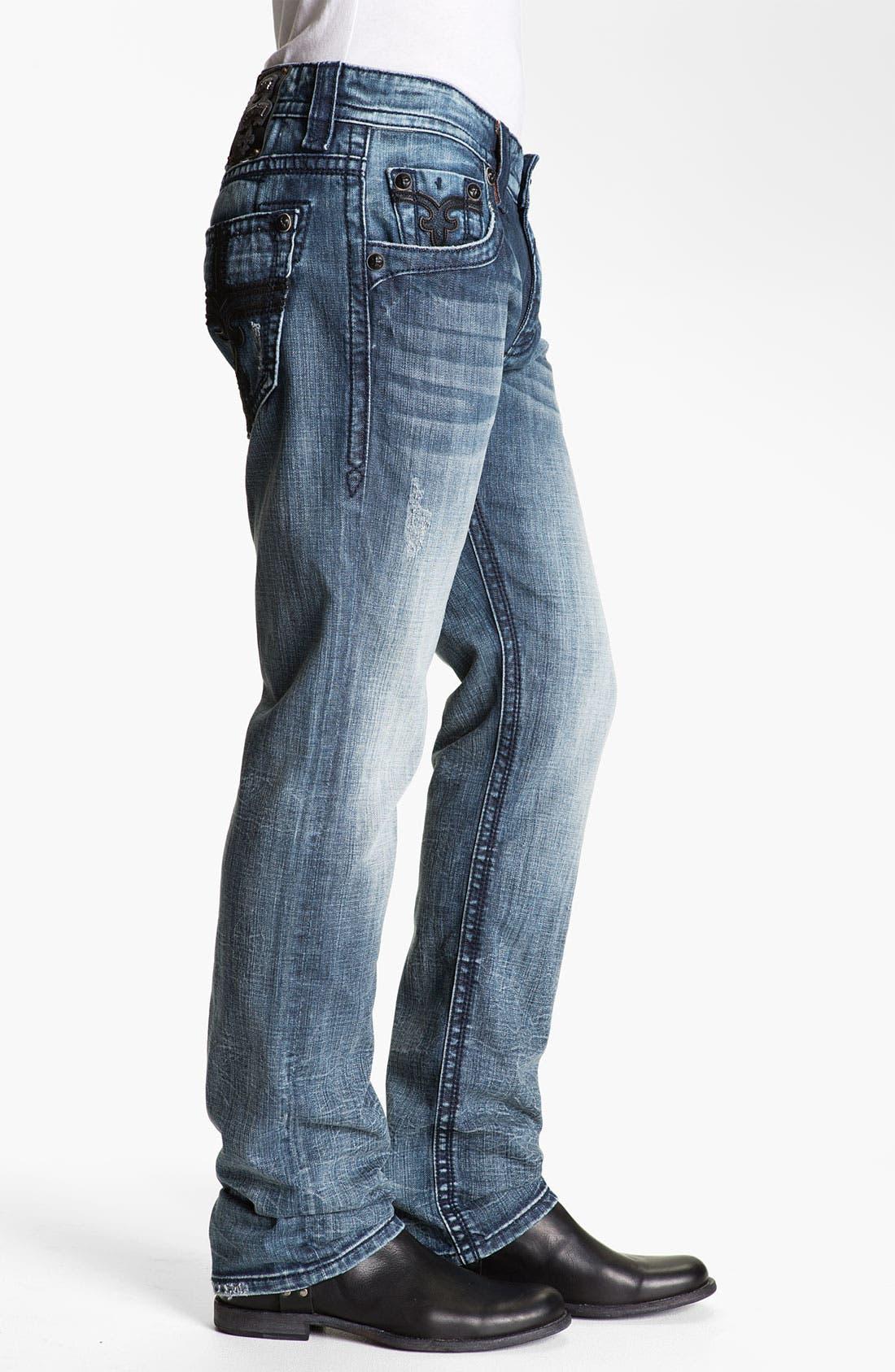 Alternate Image 3  - Rock Revival 'Larry Alternative' Straight Leg Jeans (Medium Blue)