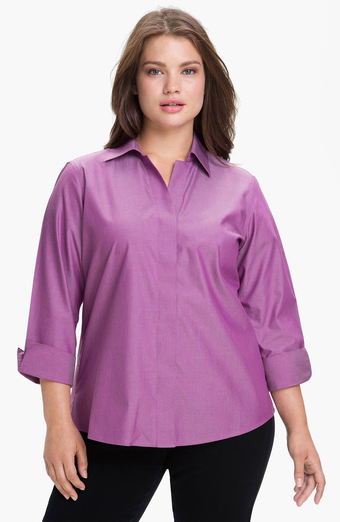 Main Image - Foxcroft Wrinkle Free Shaped Shirt (Plus Size)