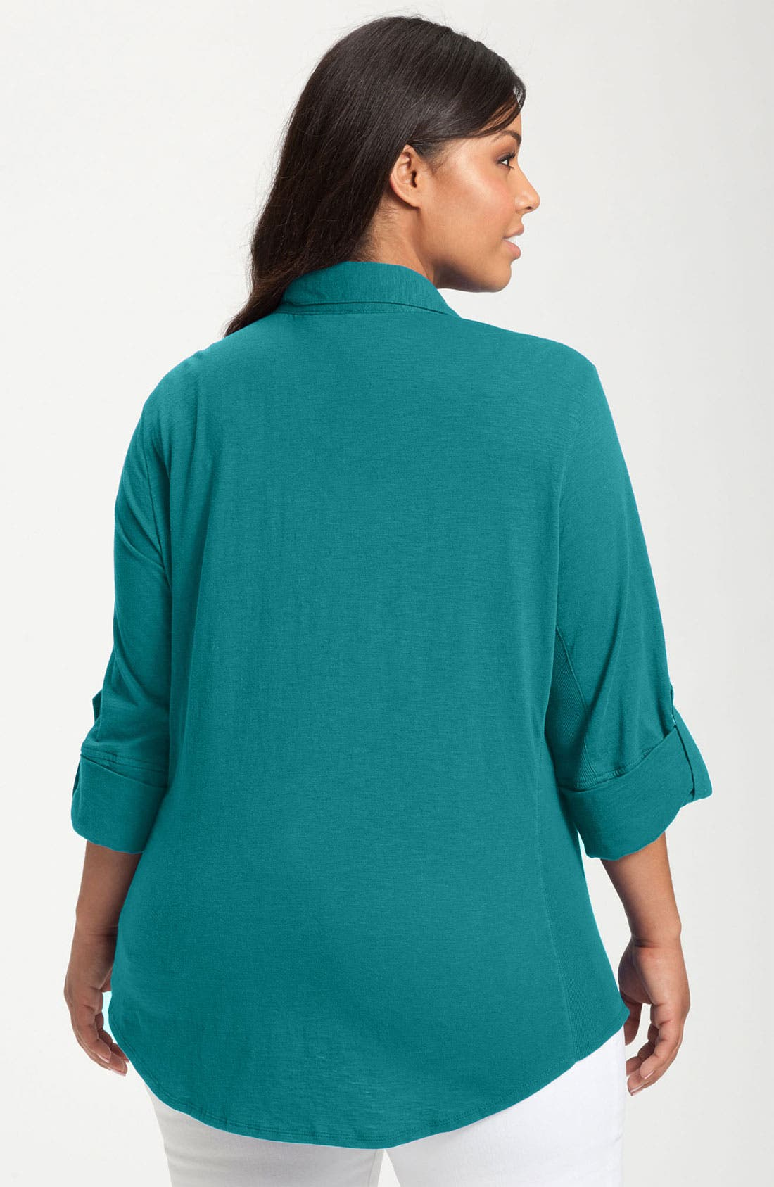Alternate Image 2  - Sandra Ingrish Roll Sleeve Knit Shirt (Plus Size)