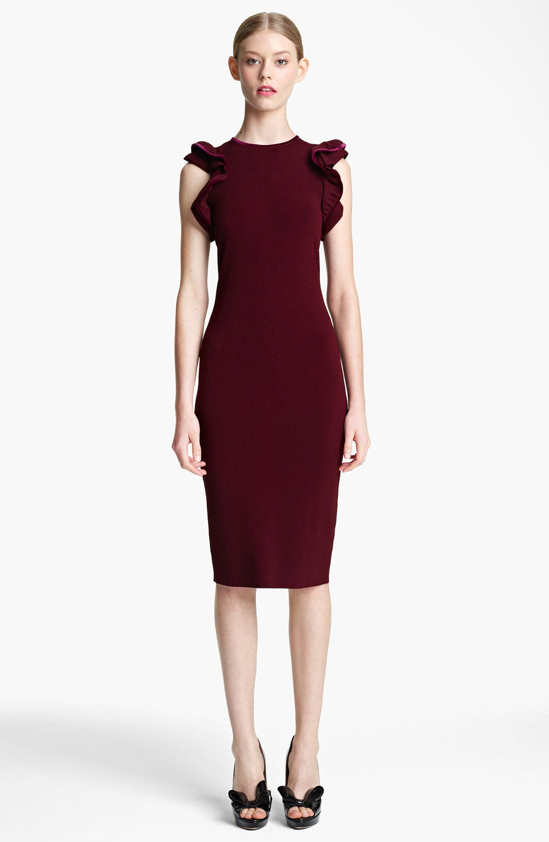 Main Image - Valentino Ruffle & Velvet Detail Knit Dress