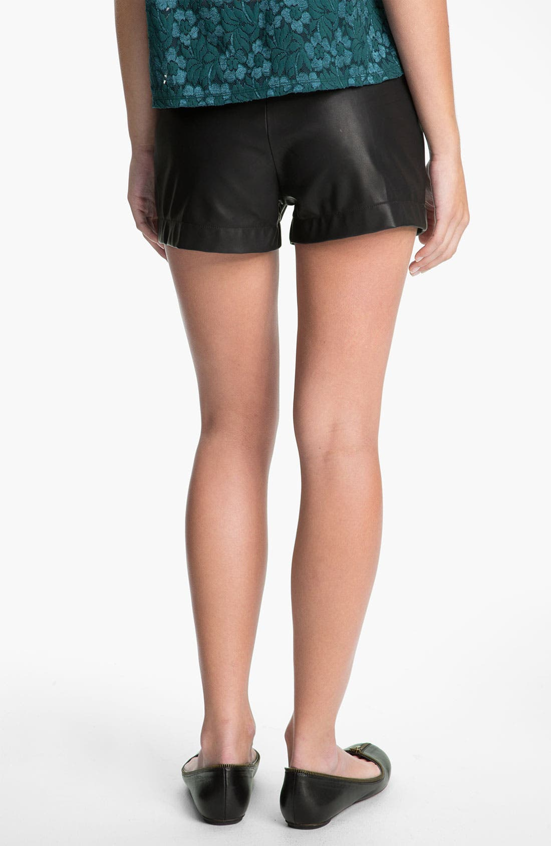Alternate Image 2  - Lily White Faux Leather Shorts (Juniors)
