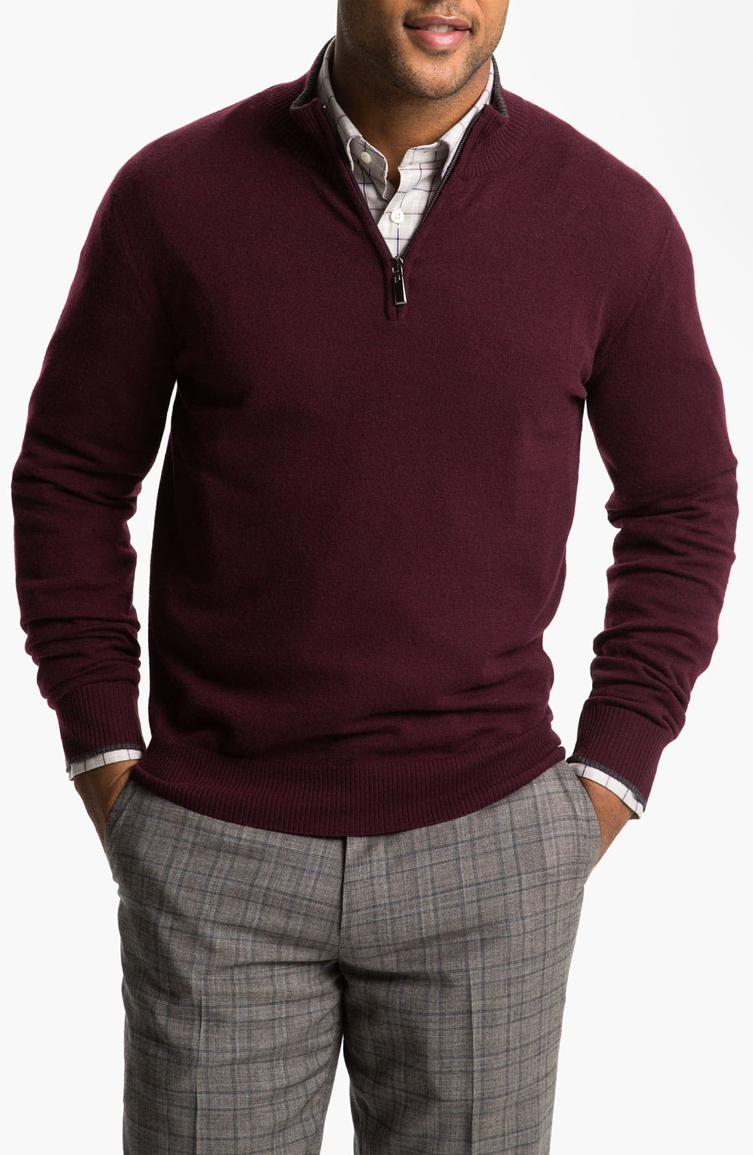 Alternate Image 1 Selected - Canali Quarter Zip Wool Sweater