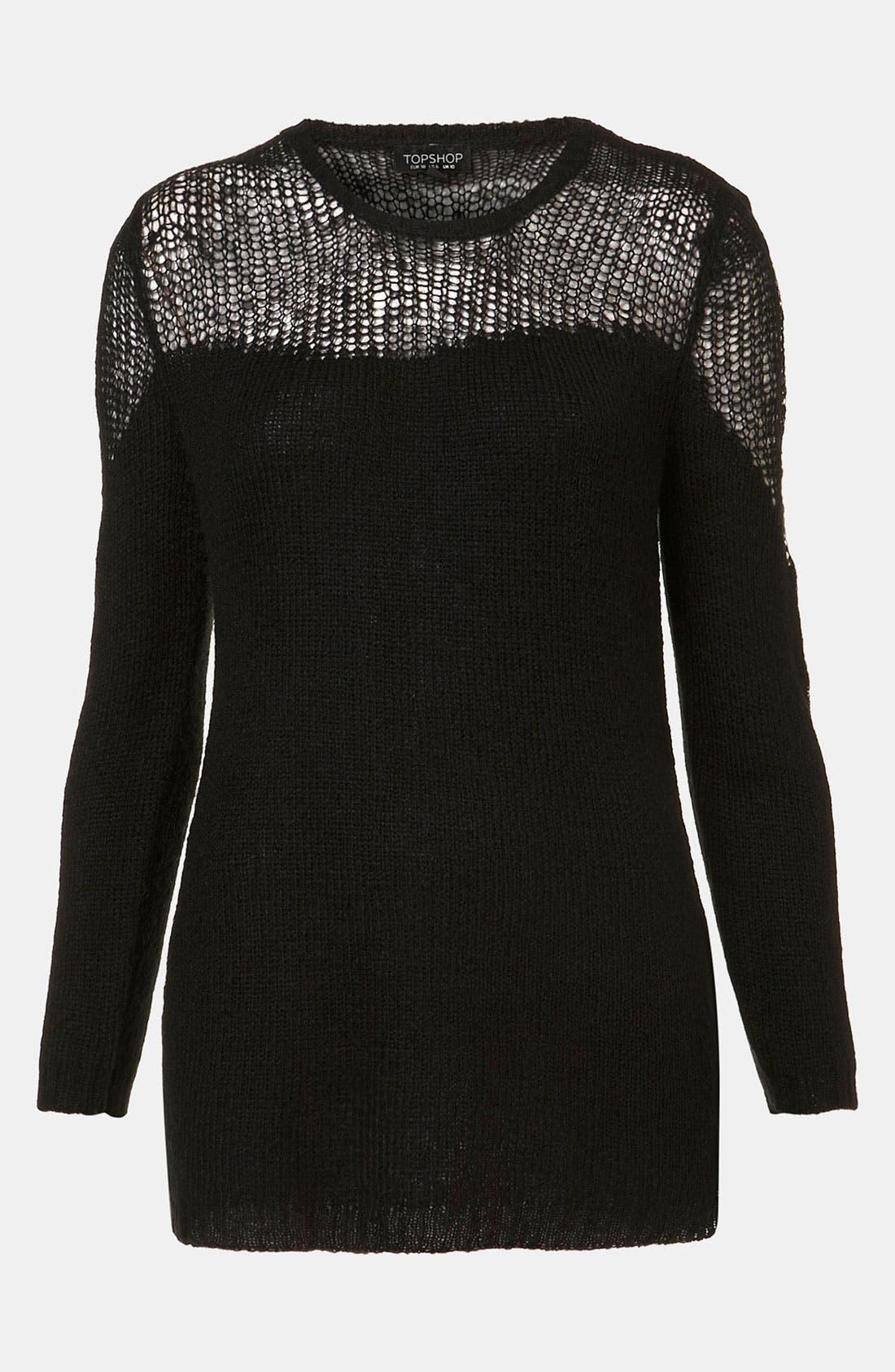 Main Image - Topshop Sheer Yoke Sweater
