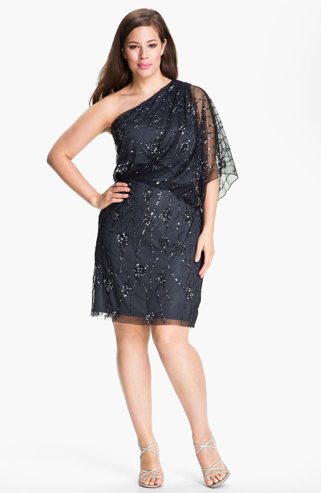 Main Image - Adrianna Papell Sequin Mesh Overlaid Blouson Dress (Plus)