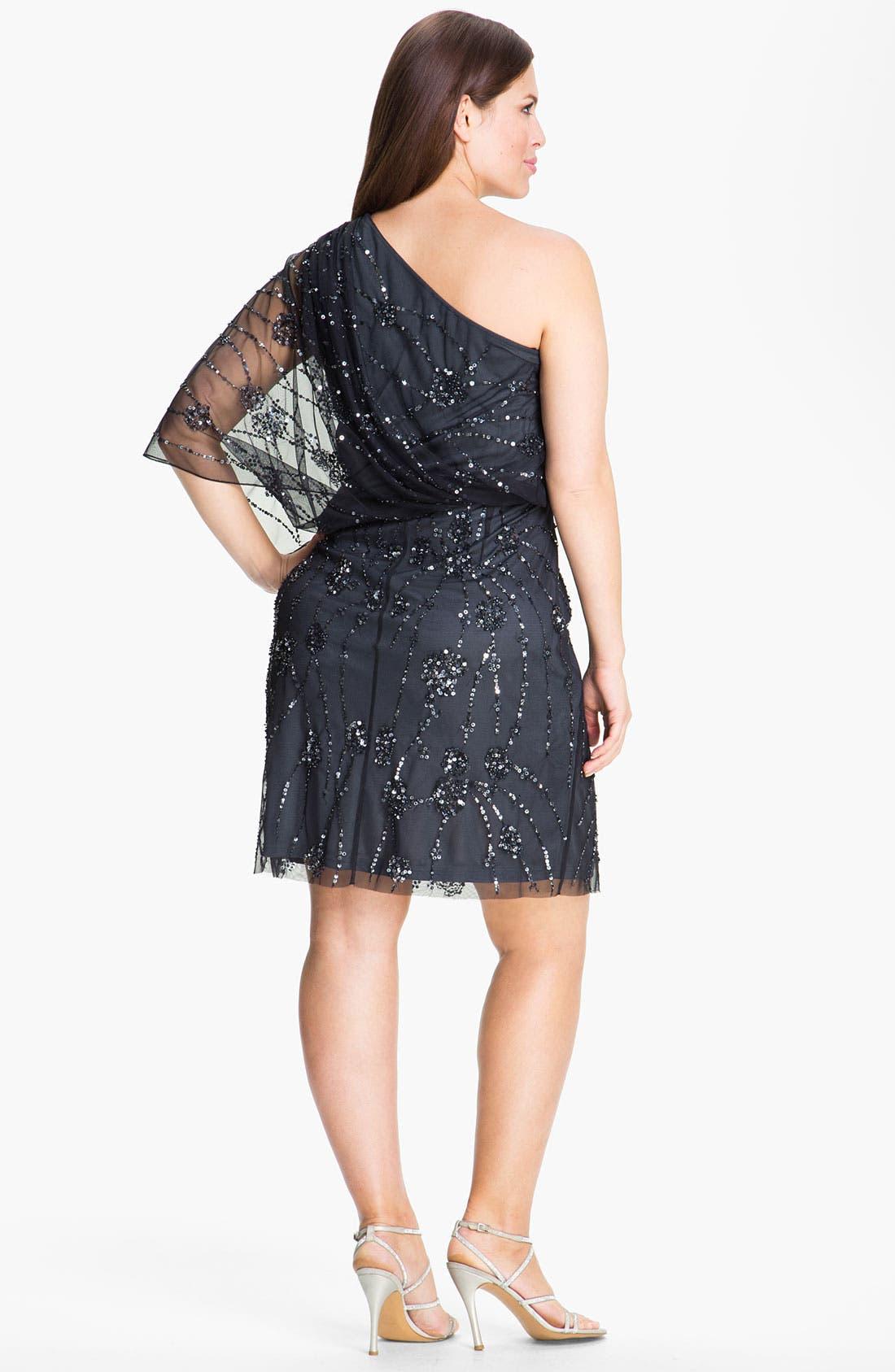 Alternate Image 2  - Adrianna Papell Sequin Mesh Overlaid Blouson Dress (Plus)