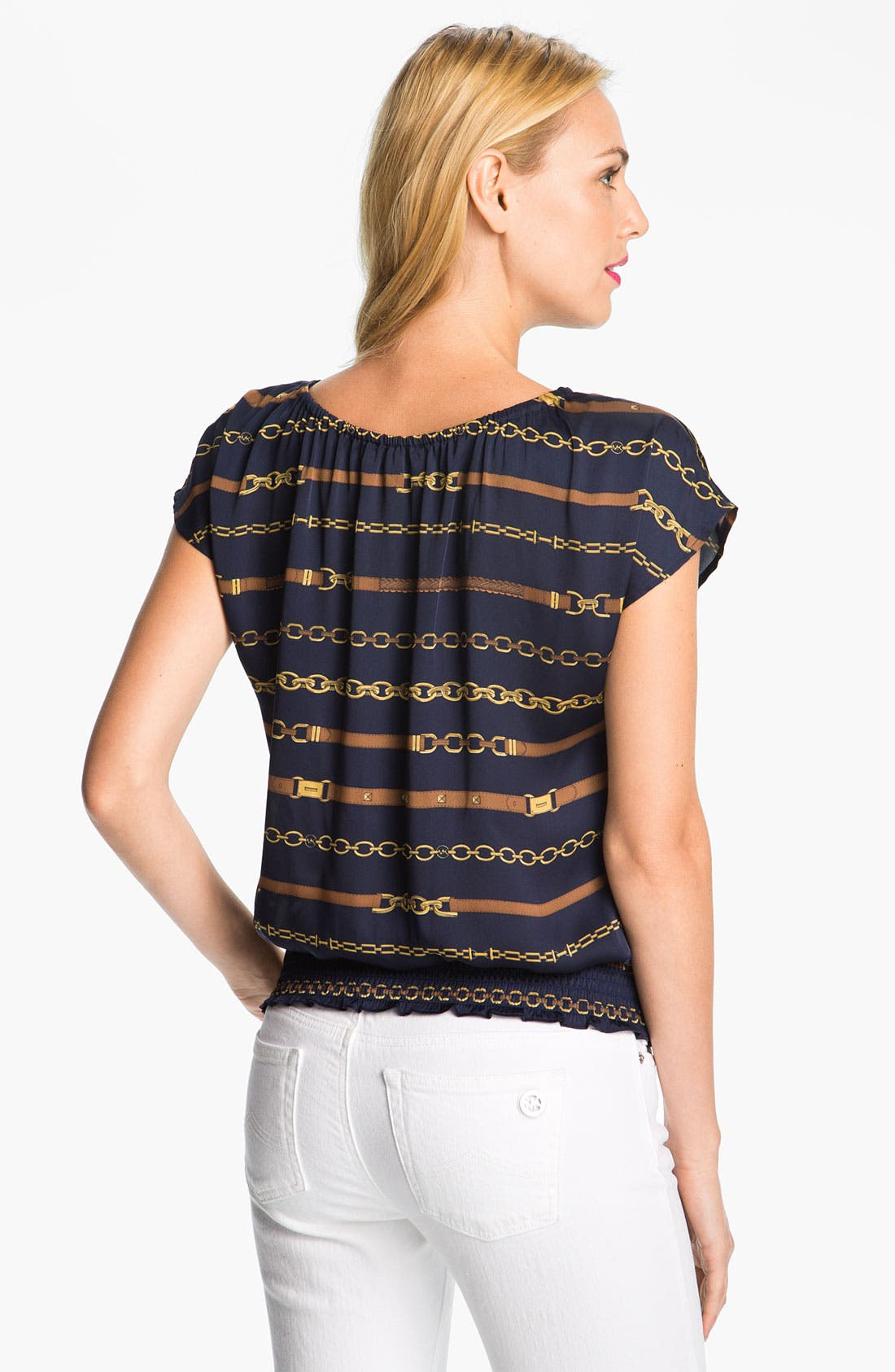 Alternate Image 2  - MICHAEL Michael Kors Cap Sleeve Peasant Blouse