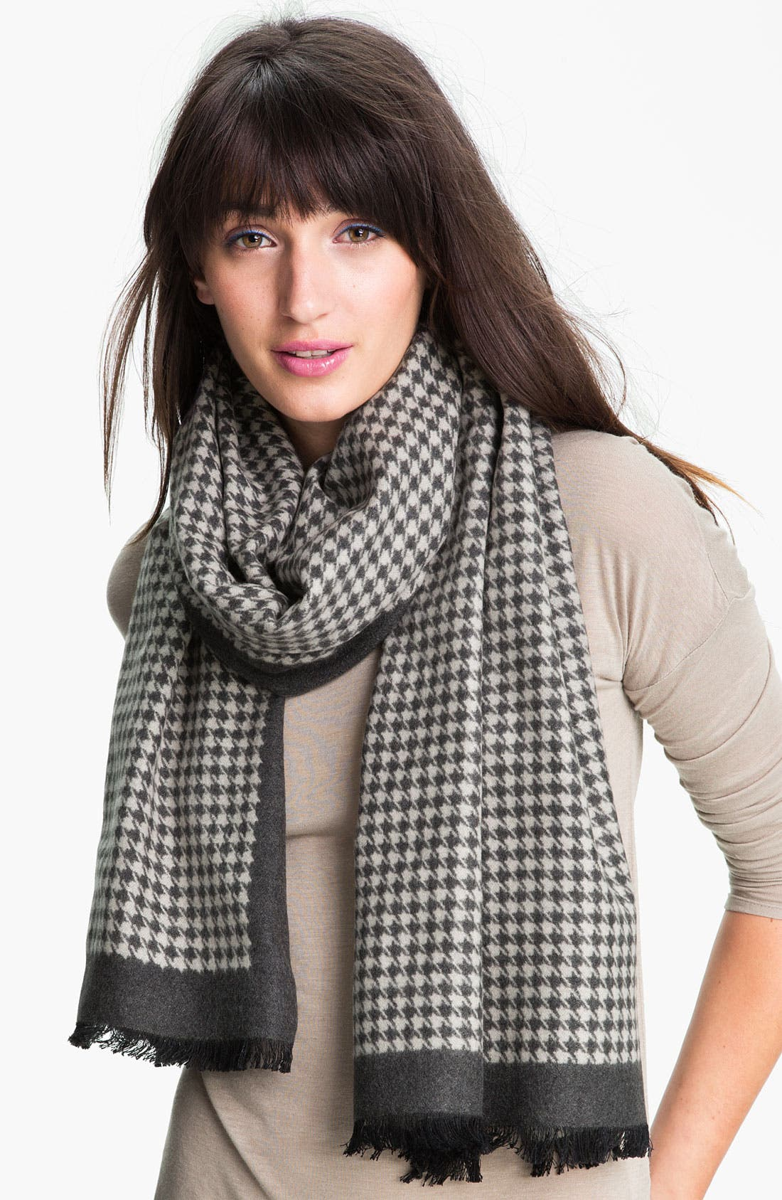 Main Image - Chelsey Imports Houndstooth Woven Silk Wrap