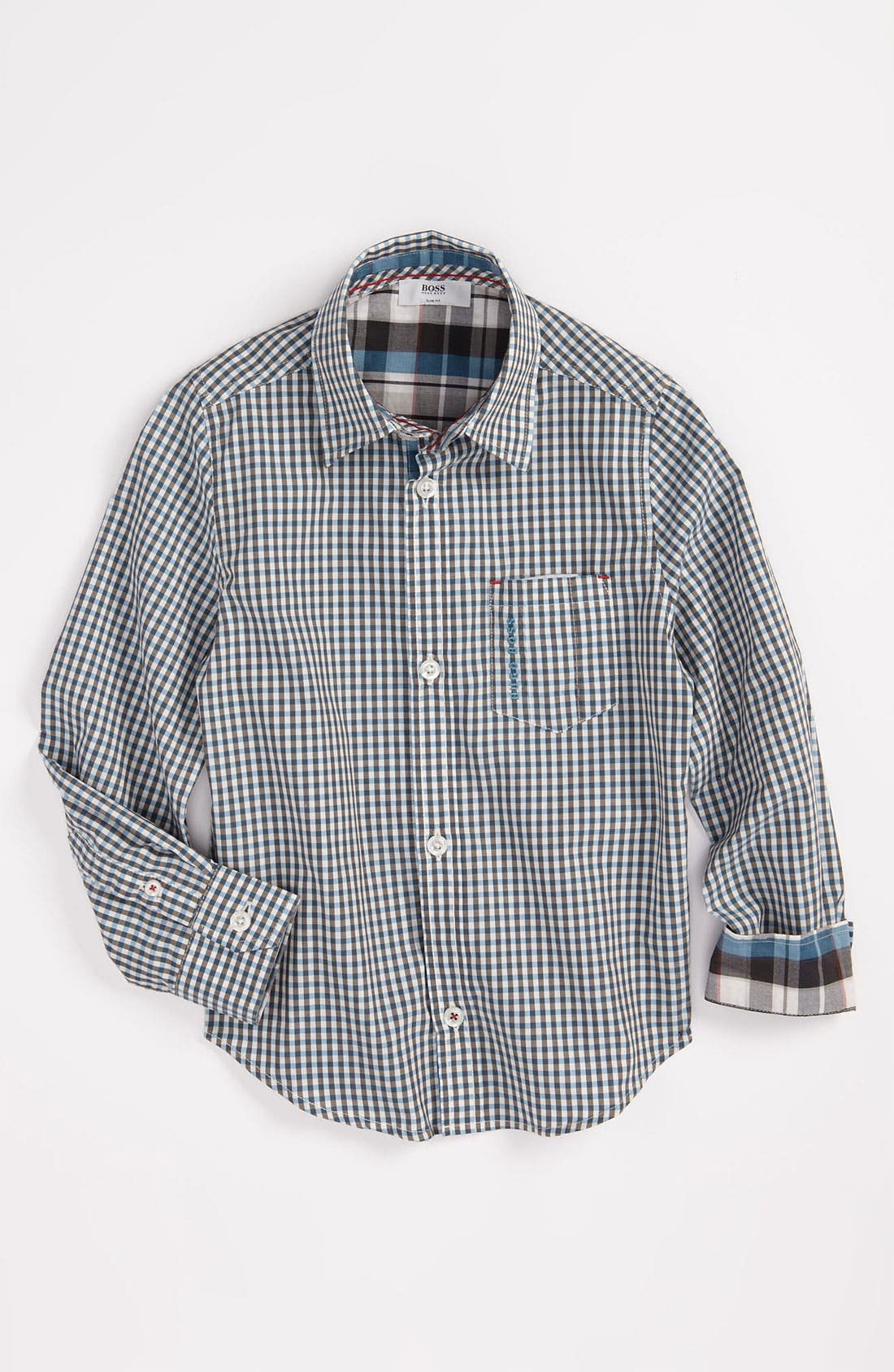 Main Image - BOSS Kidswear Check Print Poplin Shirt (Big Boys)