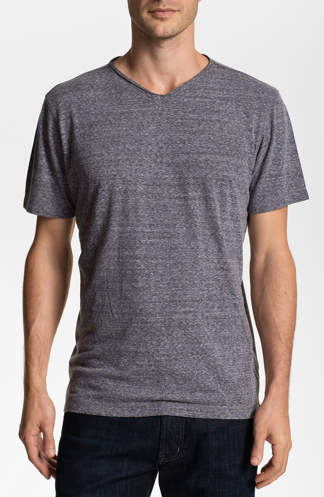 Alternate Image 1 Selected - Daniel Buchler Heathered Cotton Blend V-Neck T-Shirt