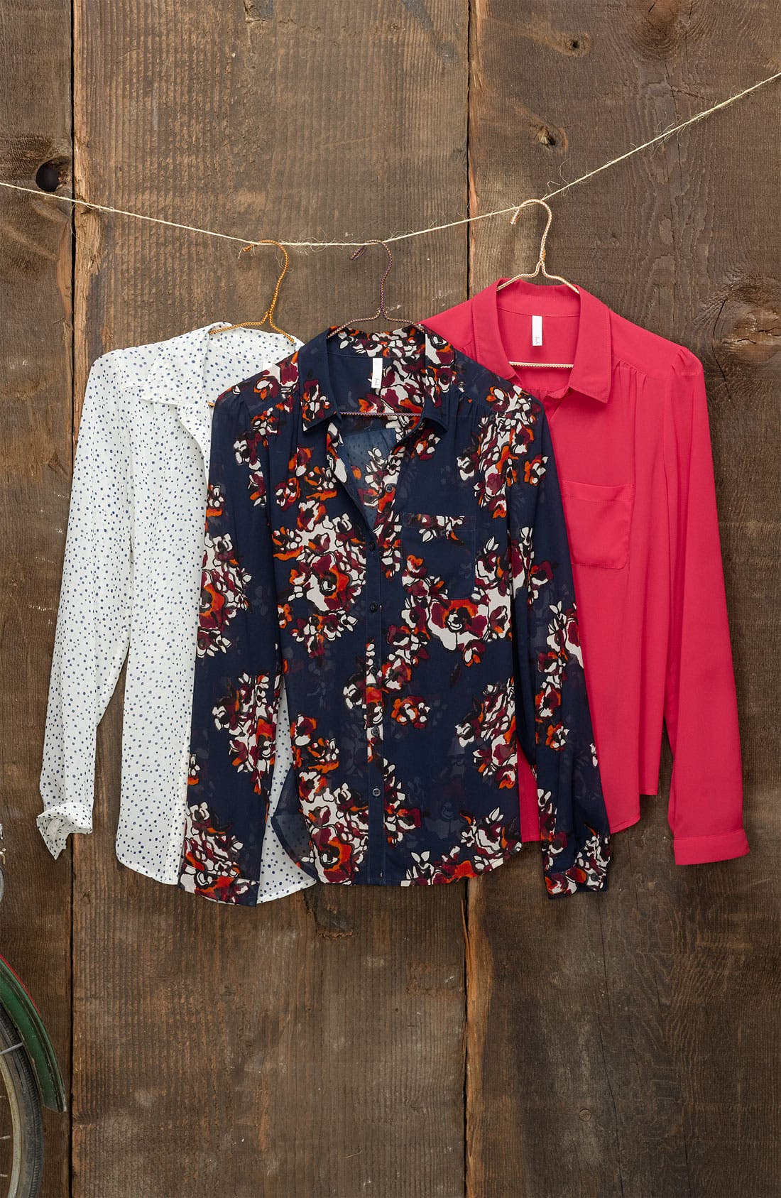 Alternate Image 3  - Frenchi® Sheer Chiffon Shirt (Juniors)