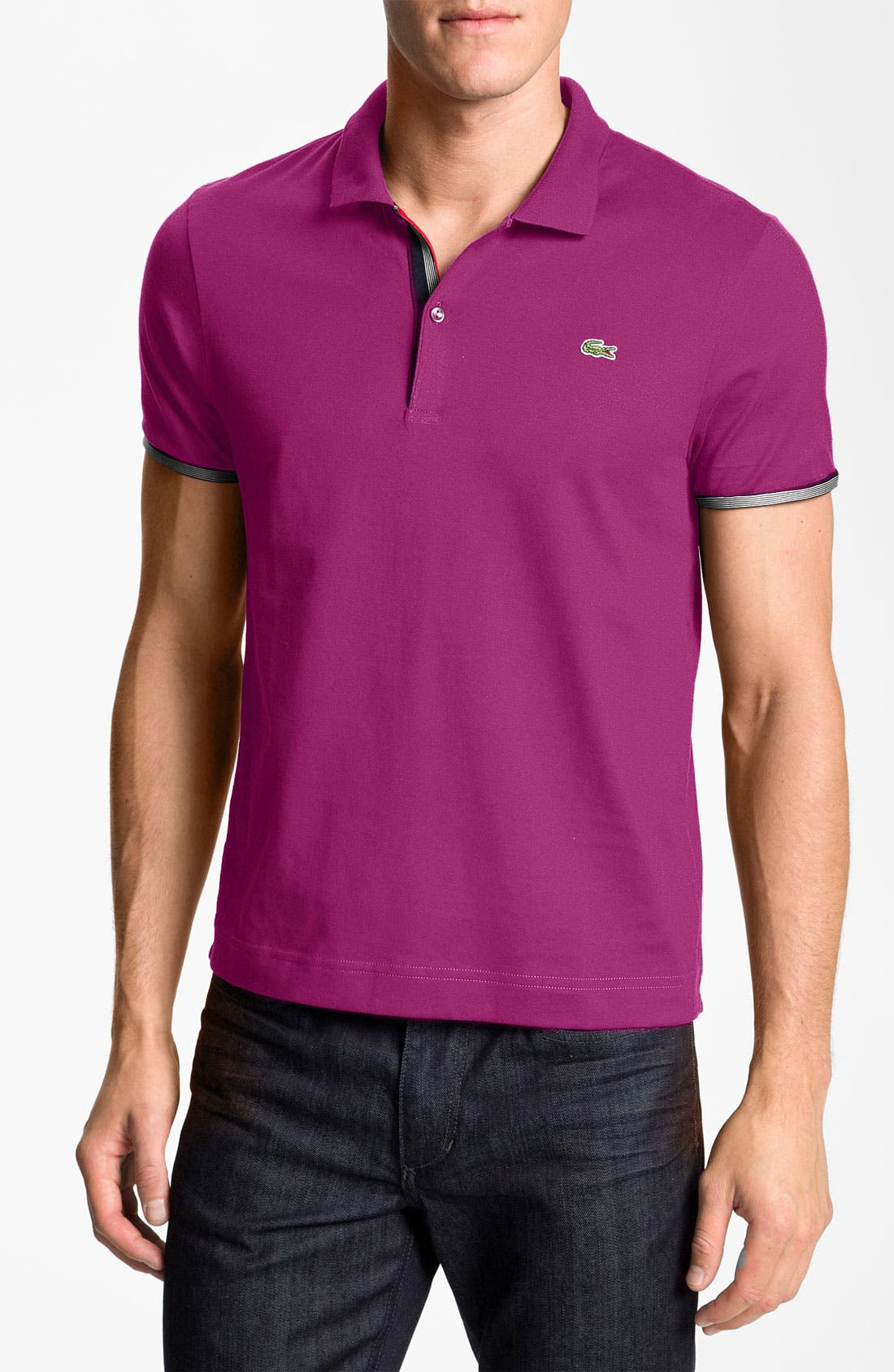 Alternate Image 1 Selected - Lacoste Trim Fit Jersey Polo