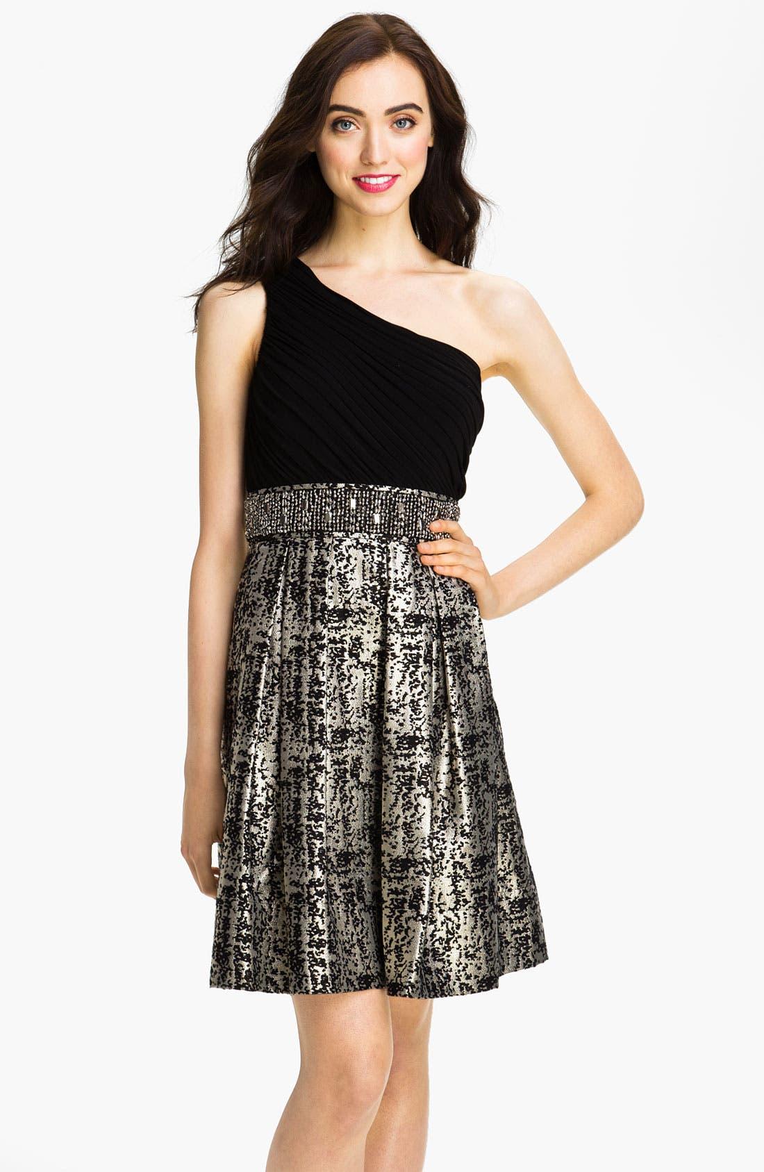 Main Image - Eliza J One Shoulder Mixed Media Fit & Flare Dress