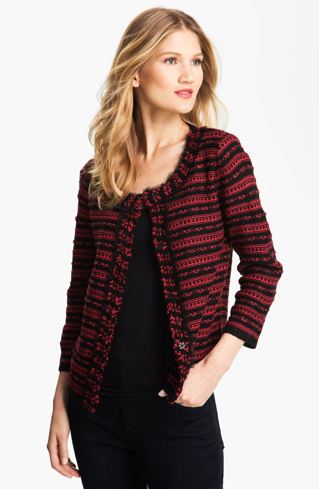 Main Image - Bellefleur Textured Stripe Cardigan