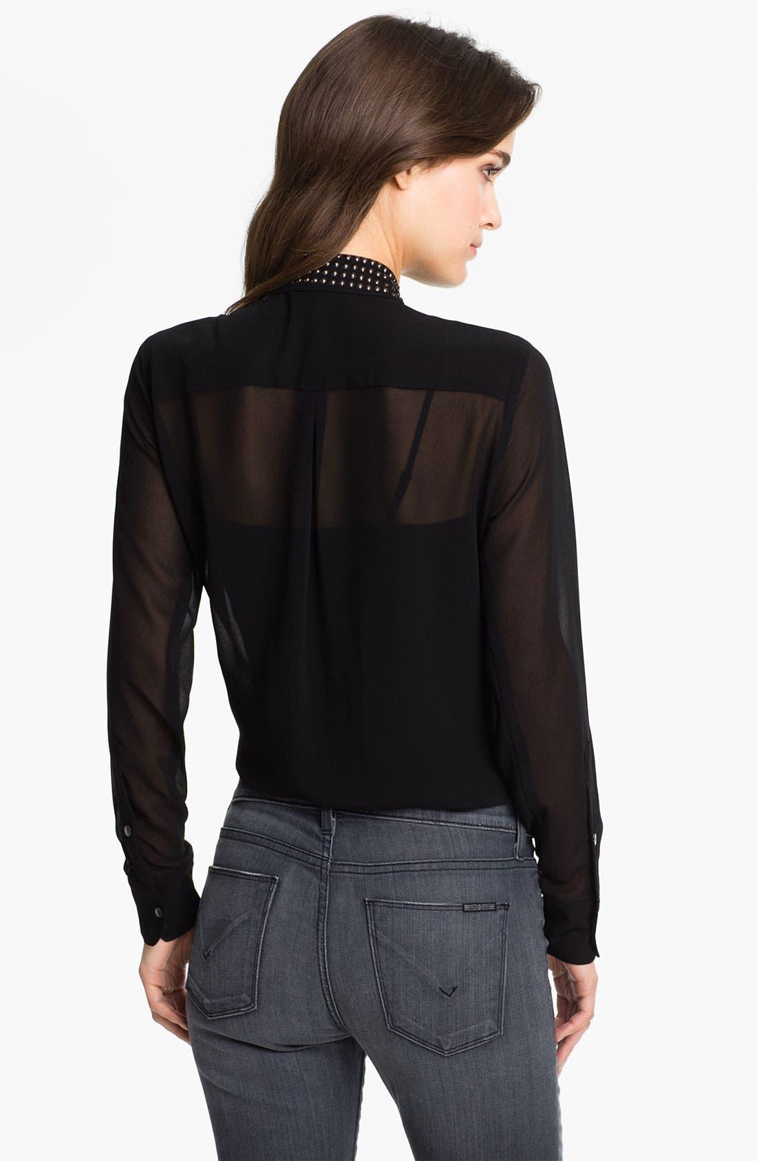 Alternate Image 2  - Velvet by Graham & Spencer Stud Collar Sheer Chiffon Shirt