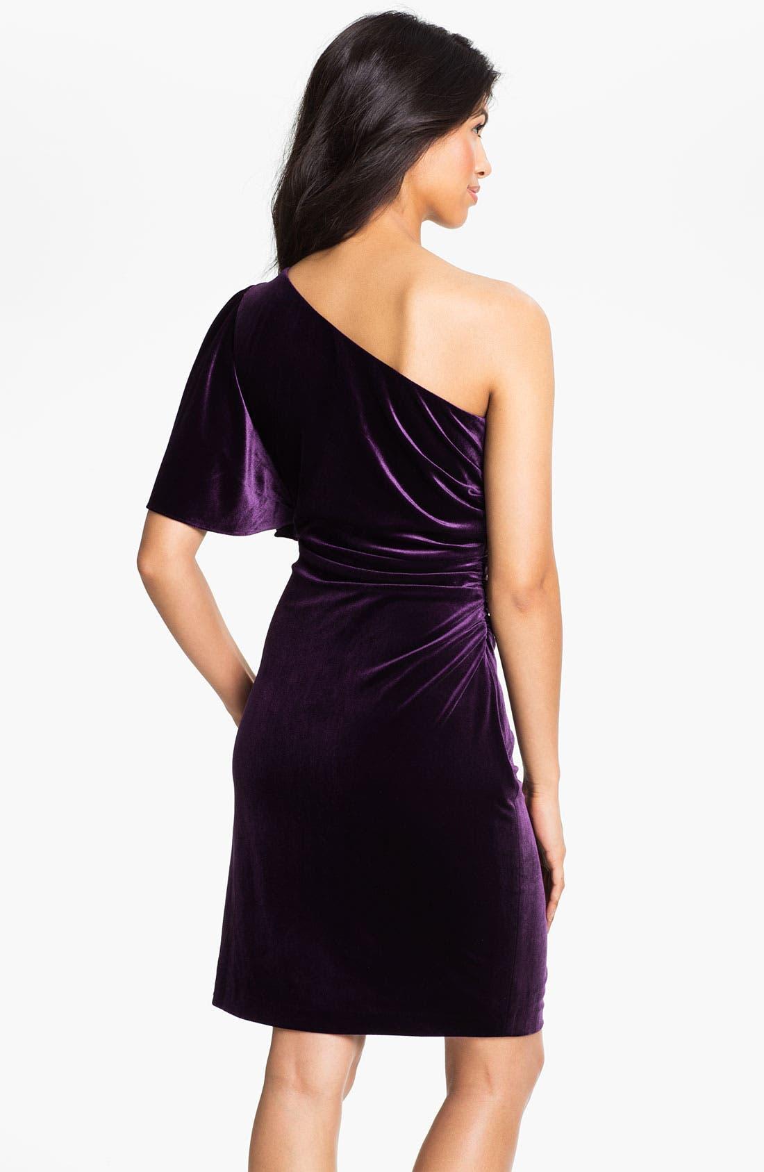 Alternate Image 2  - Calvin Klein One Shoulder Draped Sleeve Velvet Dress