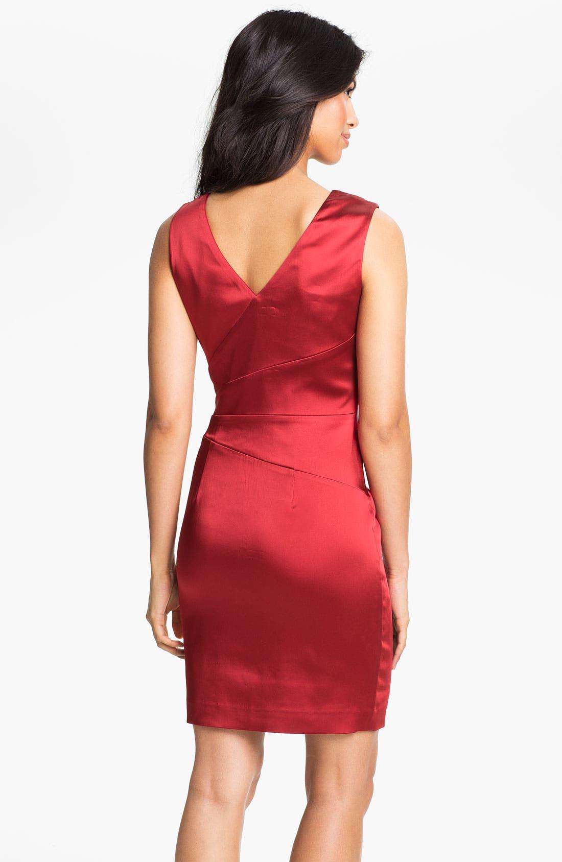 Alternate Image 2  - Calvin Klein Double V-Neck Satin Sheath Dress