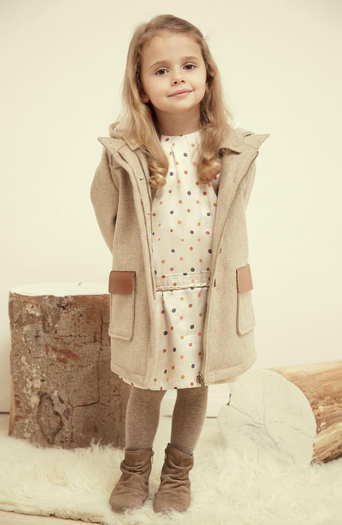 Alternate Image 2  - Chloé Hooded Wool Blend Coat (Little Girls & Big Girls)