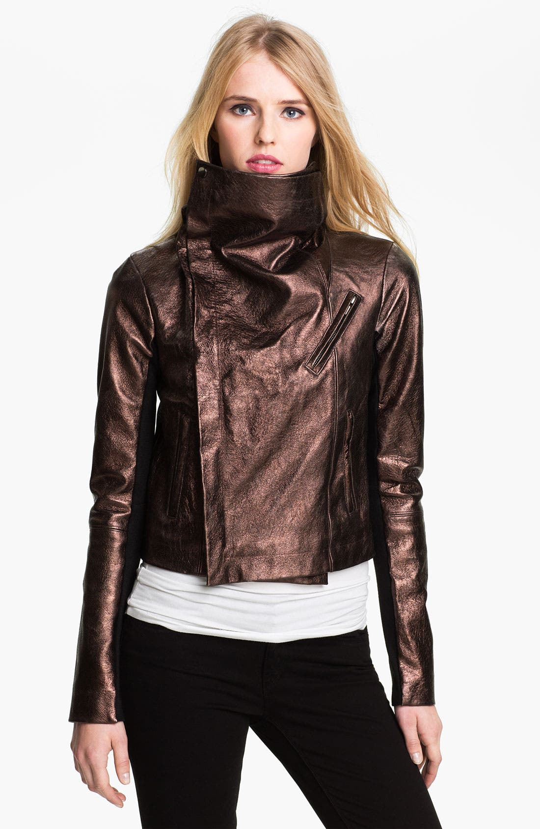 Alternate Image 3  - Veda 'Max' Metallic Leather Moto Jacket
