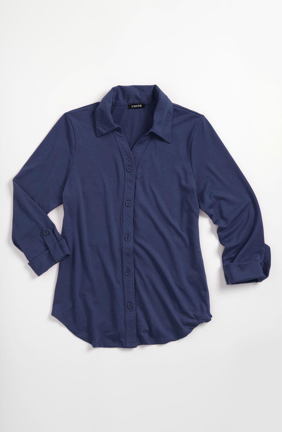 Main Image - Zunie Button Front Knit Shirt (Big Girls)