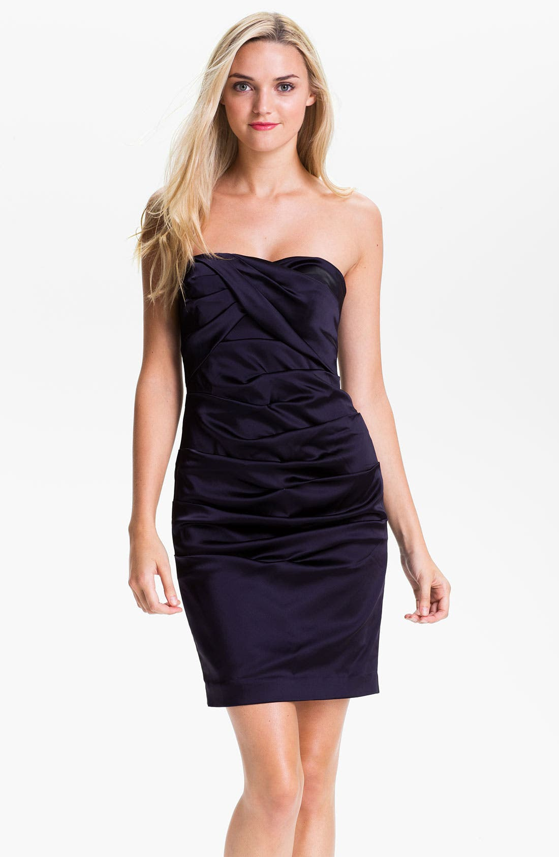 Alternate Image 1 Selected - Calvin Klein Strapless Ruched Satin Sheath Dress
