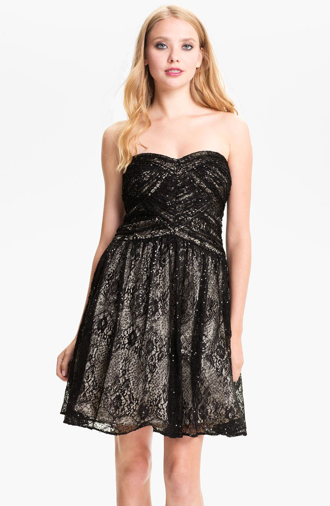 Alternate Image 1 Selected - Hailey by Adrianna Papell Sequin Lace Sweetheart Dress