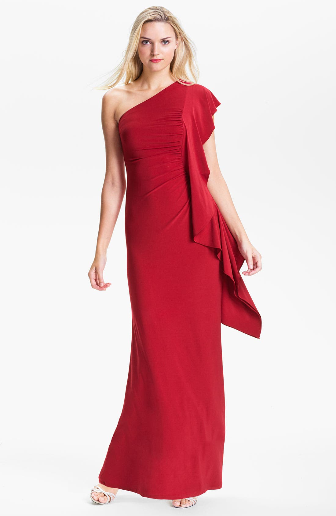 Main Image - ABS by Allen Schwartz Ruched One Flutter Sleeve Gown