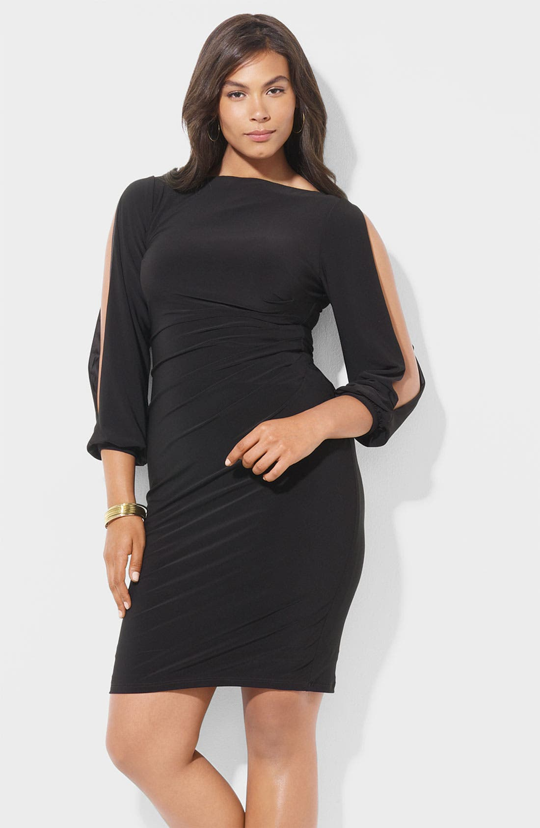Main Image - Lauren Ralph Lauren Open Sleeve Matte Jersey Sheath Dress (Plus)