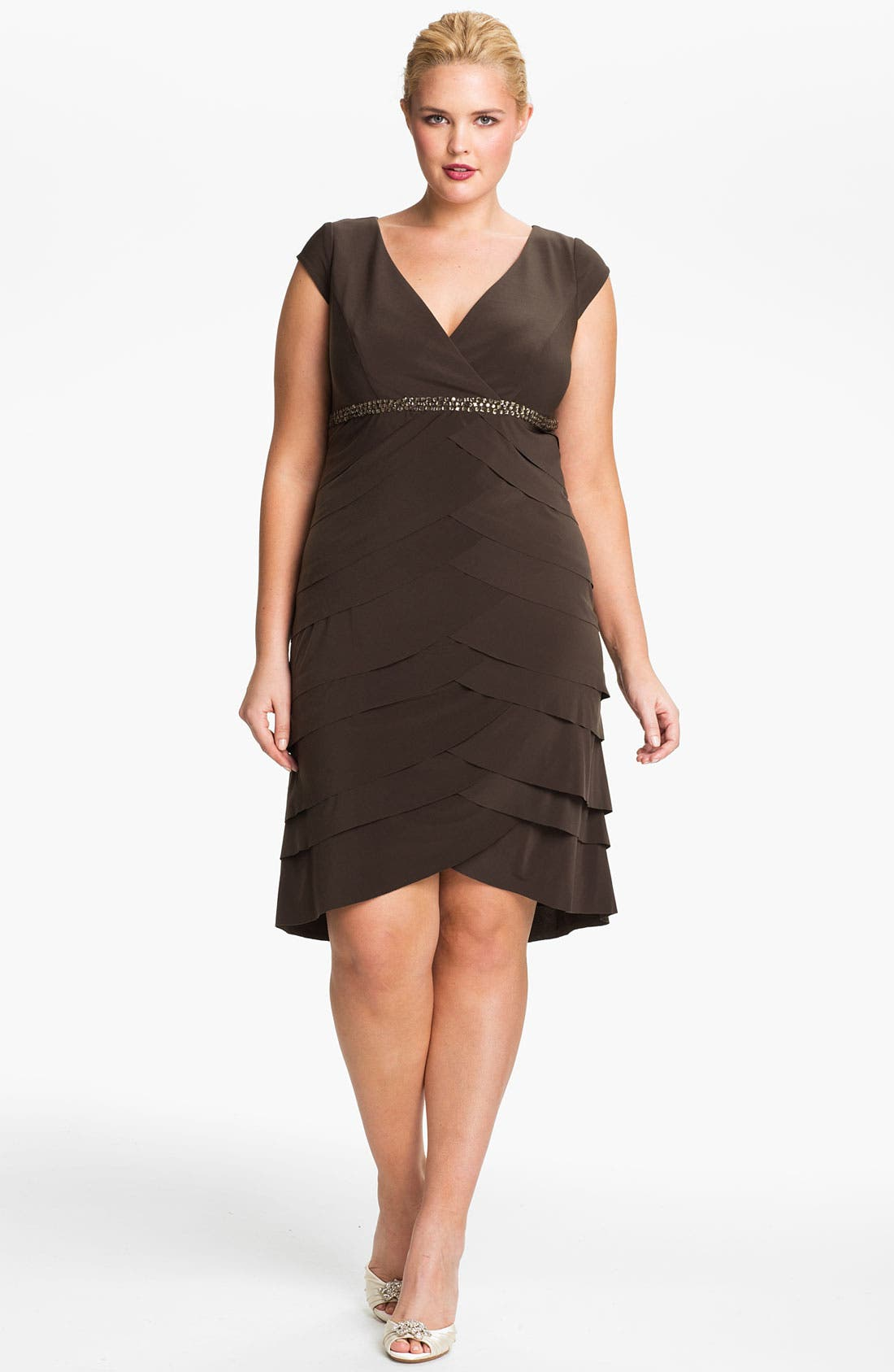 Alternate Image 1 Selected - Alex Evenings Beaded Cap Sleeve Sheath Dress (Plus)