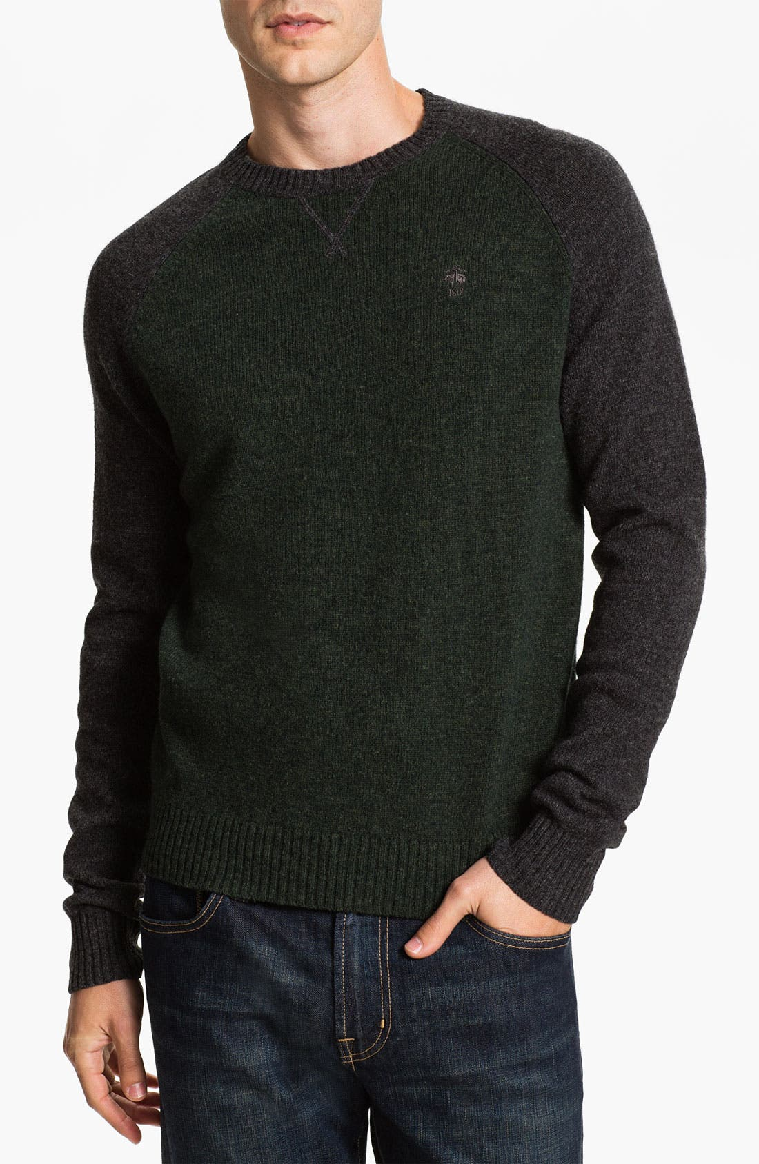 Main Image - Brooks Brothers Wool Baseball Sweater