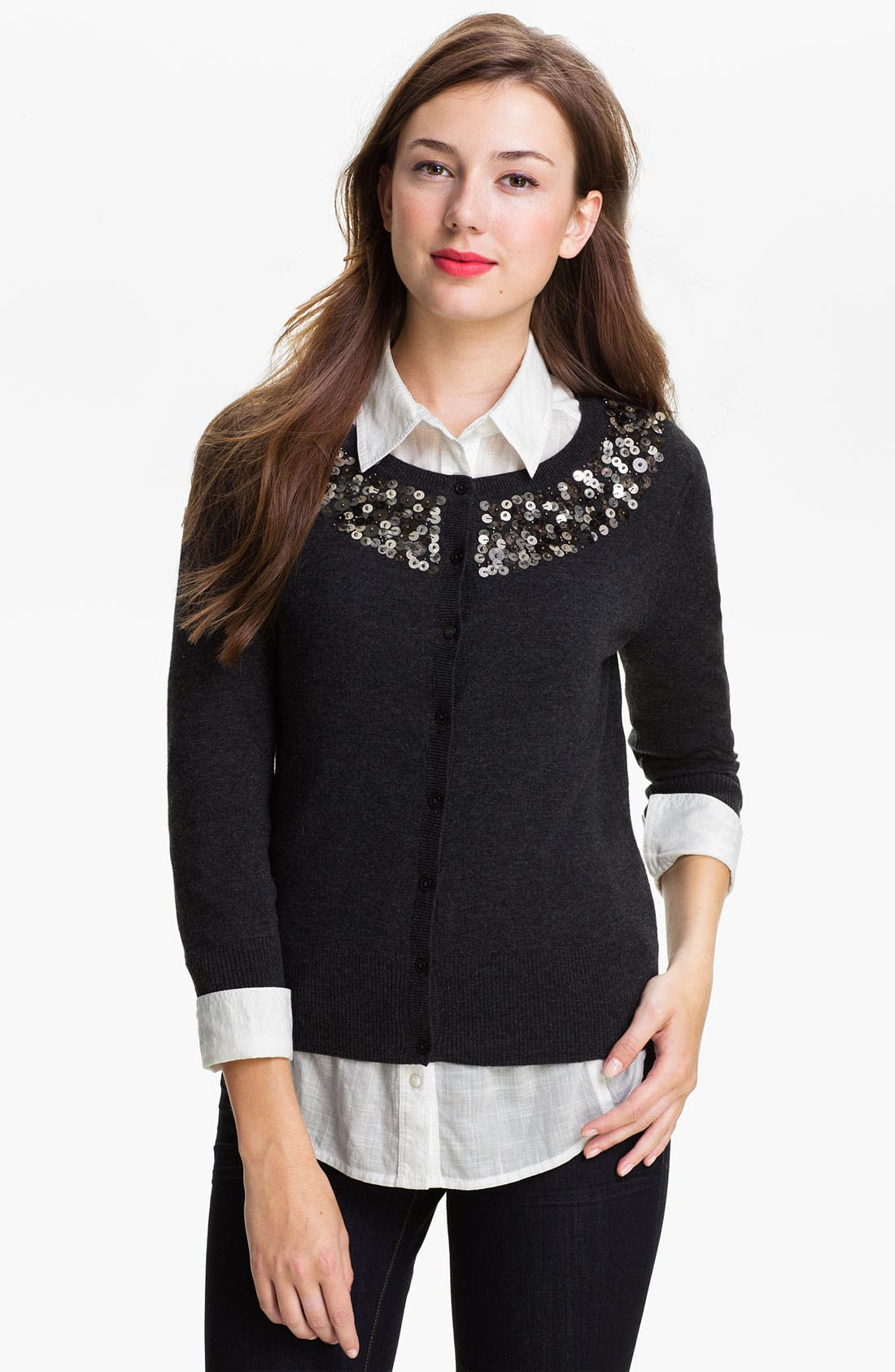 Main Image - Halogen® Sequin Yoke Cardigan