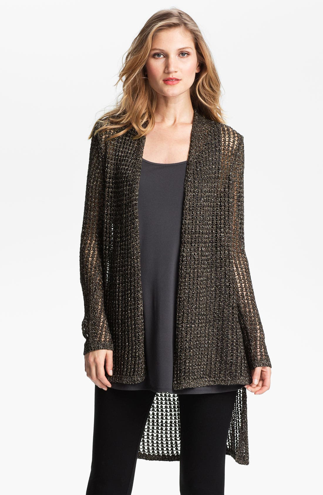 Alternate Image 1 Selected - Eileen Fisher Sparkle Mesh Cardigan