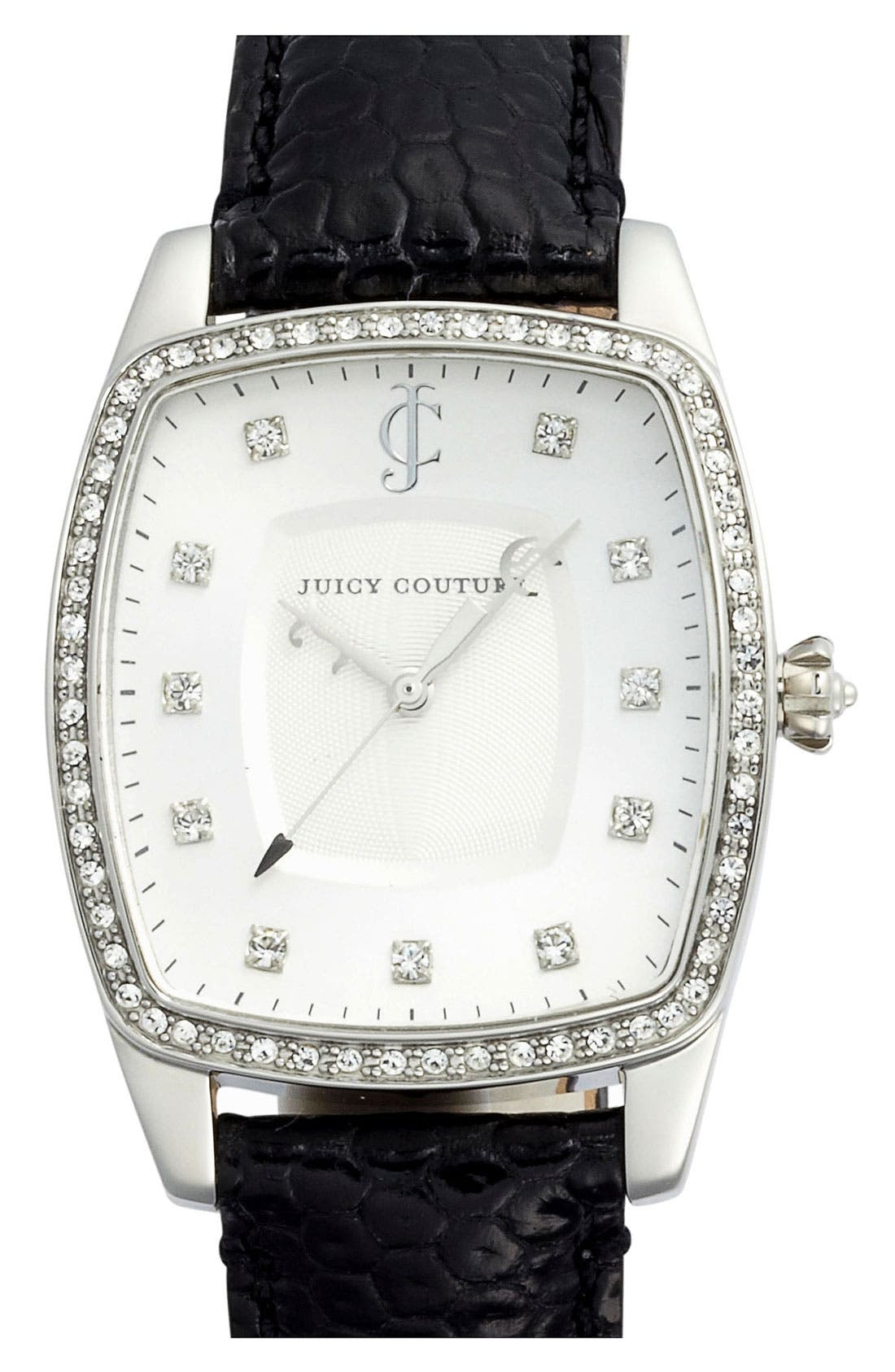 Main Image - Juicy Couture 'Beau' Crystal Accent Leather Strap Watch