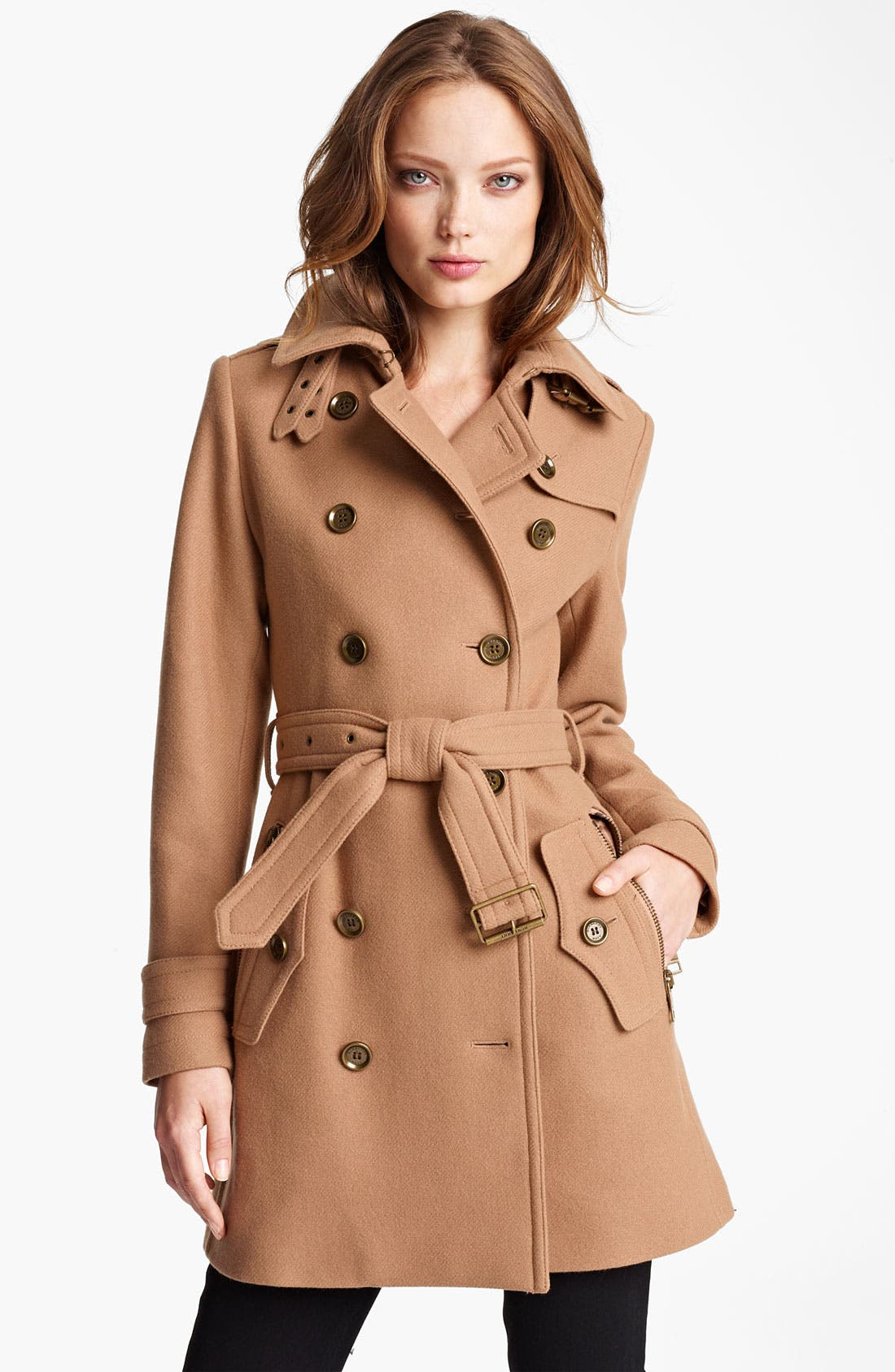 Main Image - Burberry Brit 'Benthams' Double Breasted Wool Blend Coat