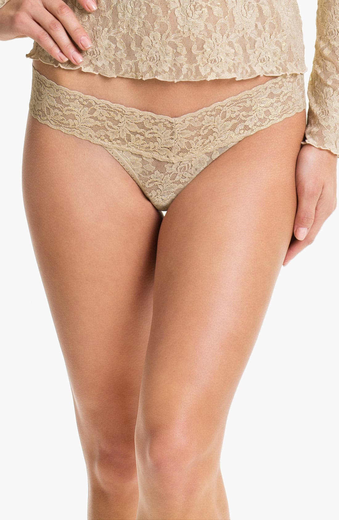 Alternate Image 1 Selected - Hanky Panky Metallic Signature Lace Low Rise Thong