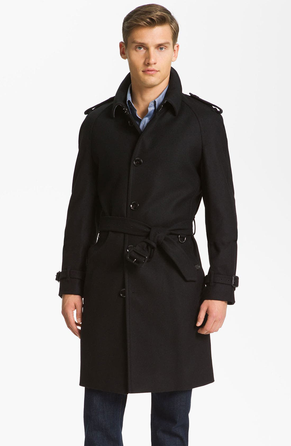 Main Image - Burberry London Trim Fit Wool Blend Trench Coat