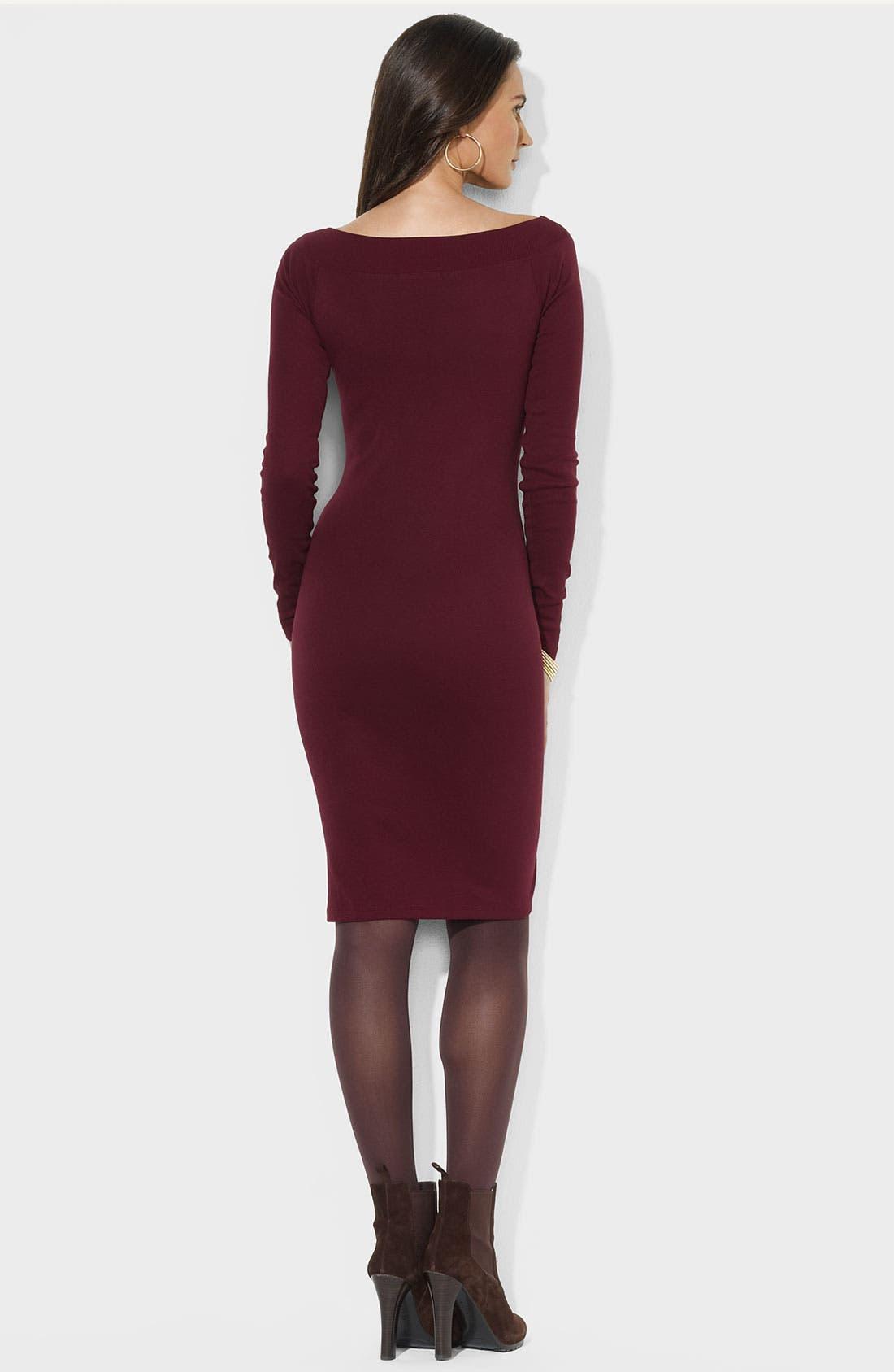 Alternate Image 2  - Lauren Ralph Lauren Buckle Trim Boatneck Dress