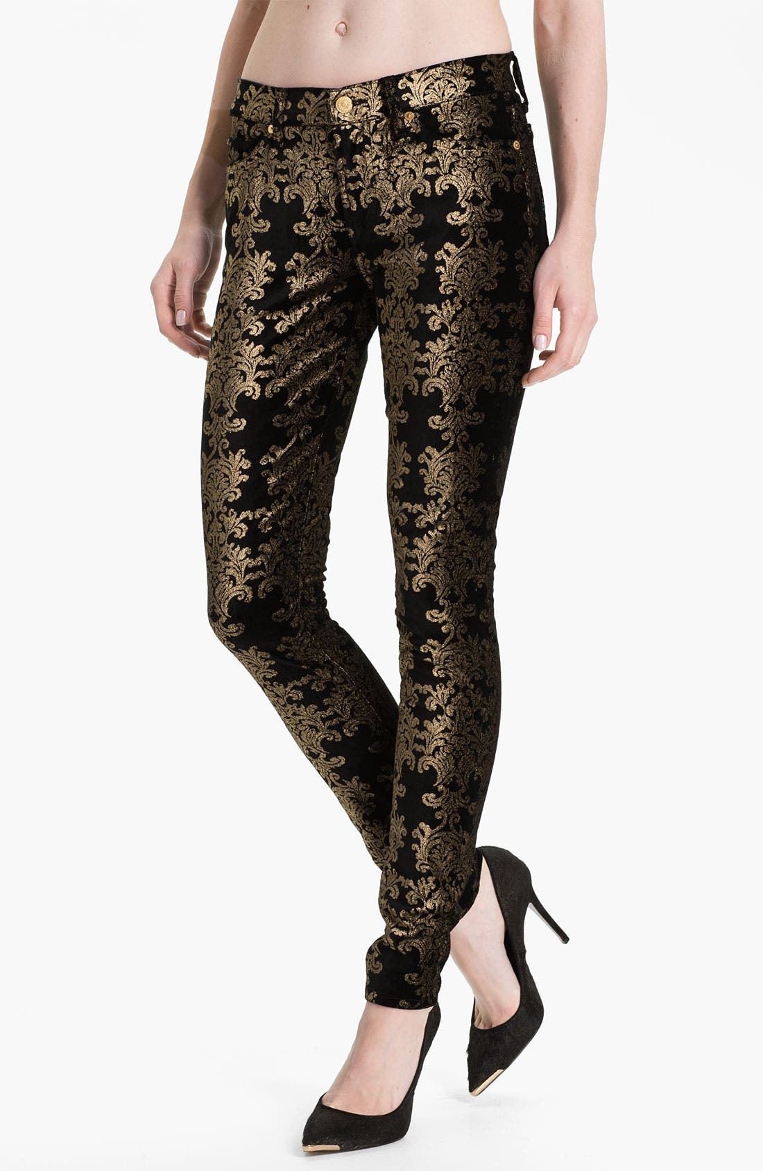 Main Image - 7 For All Mankind® 'The Skinny' Foil Print Jeans (Black/Gold Foil)
