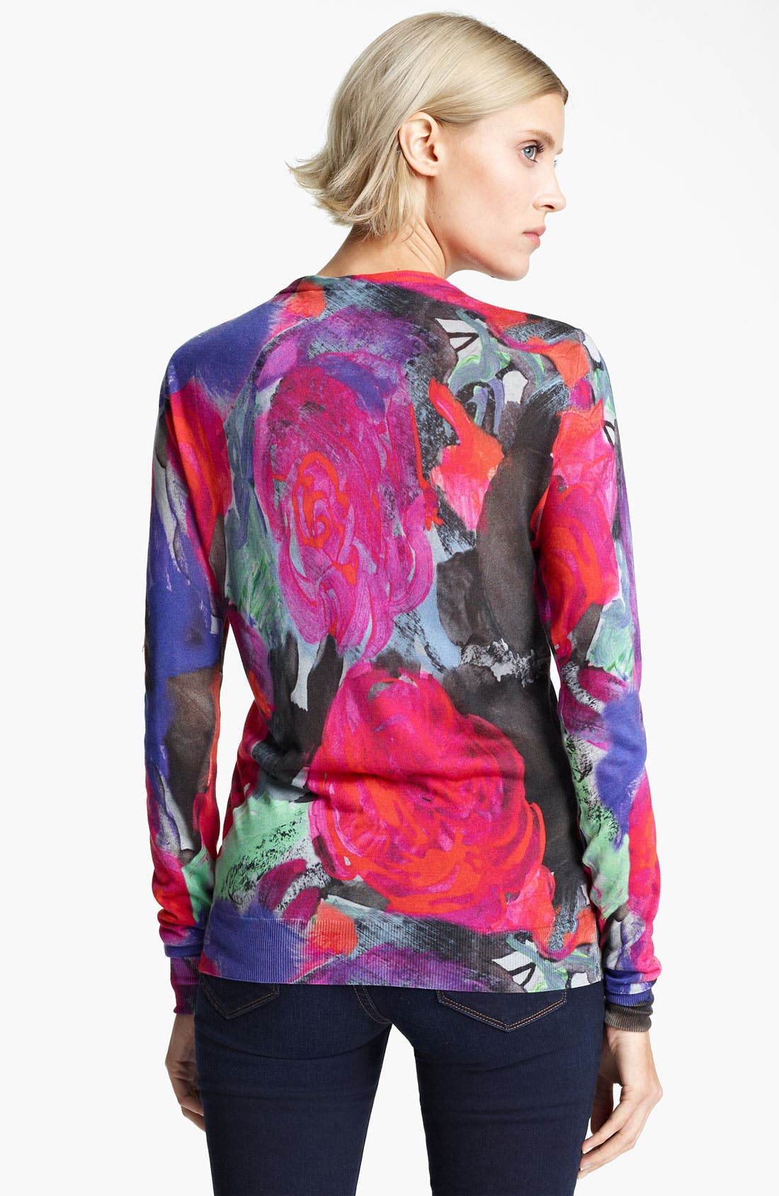 Alternate Image 2  - Christopher Kane Floral Print Silk Cardigan