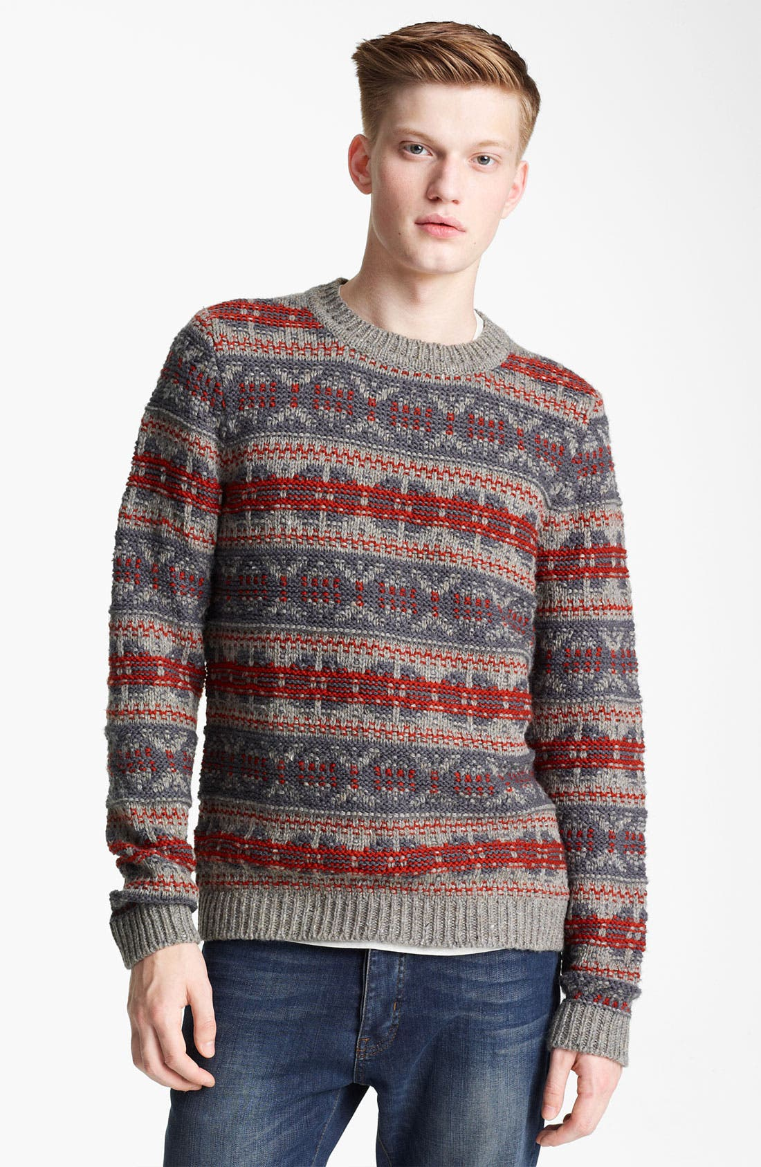 Alternate Image 1 Selected - Topman Pattern Crewneck Sweater