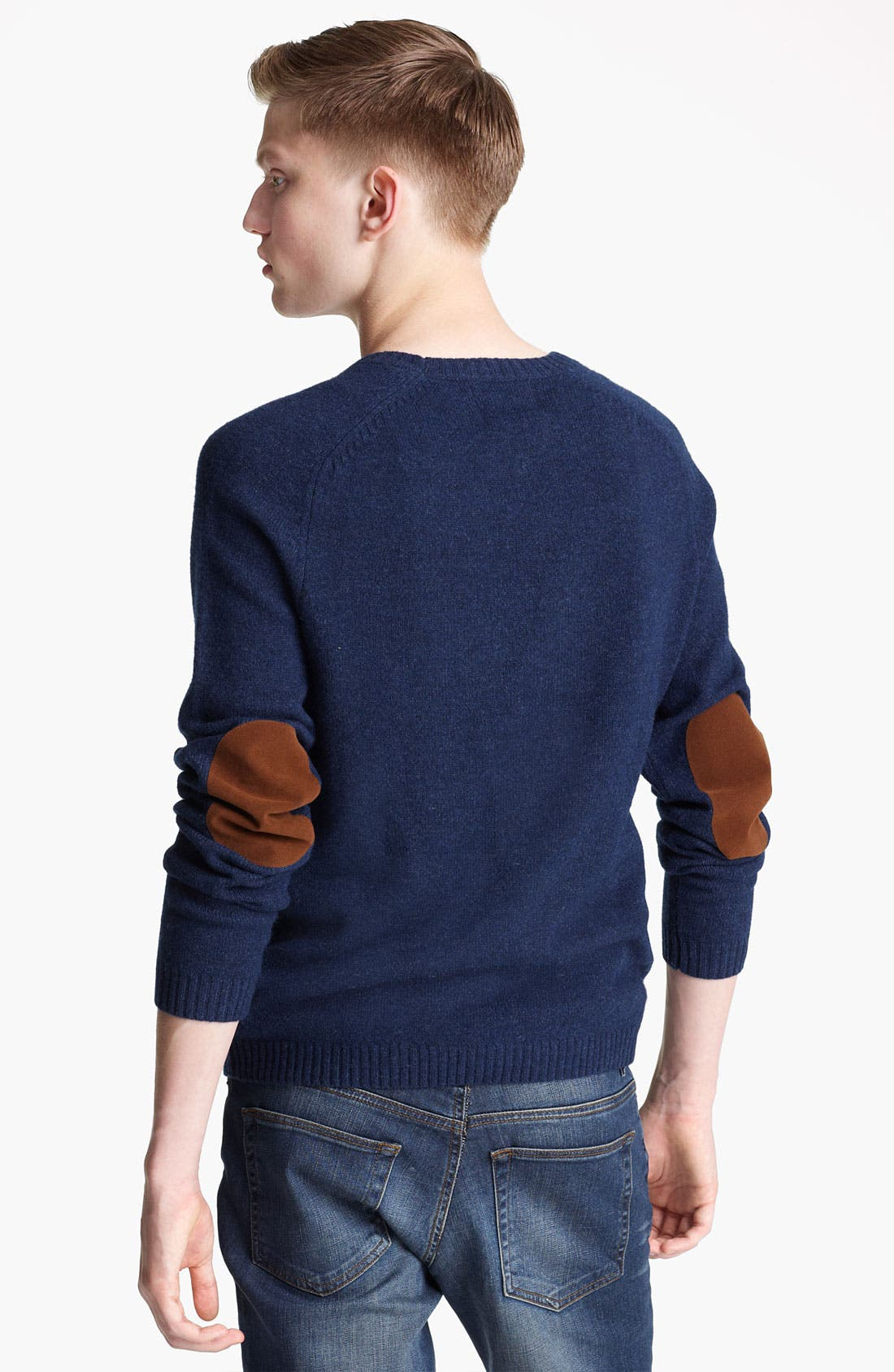 Alternate Image 2  - Topman Lambswool Blend Sweater with Elbow Patches