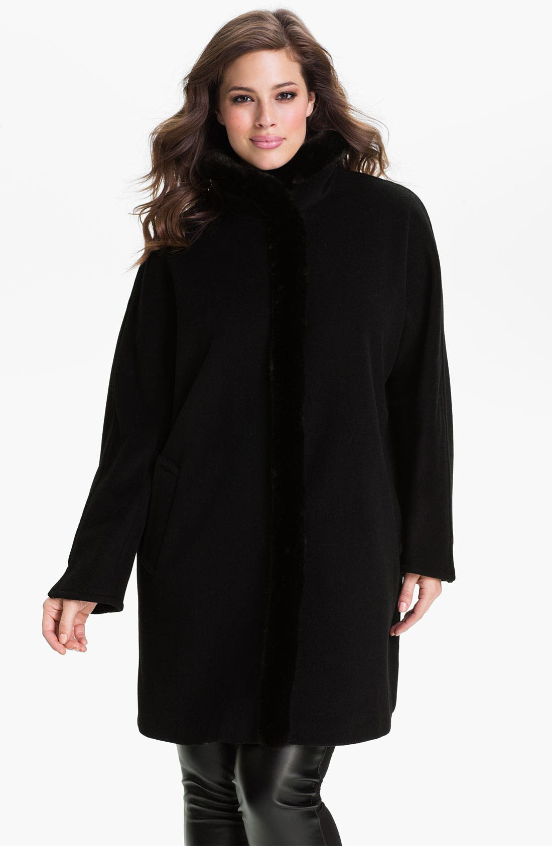 Main Image - Ellen Tracy Faux Fur Trim Topper