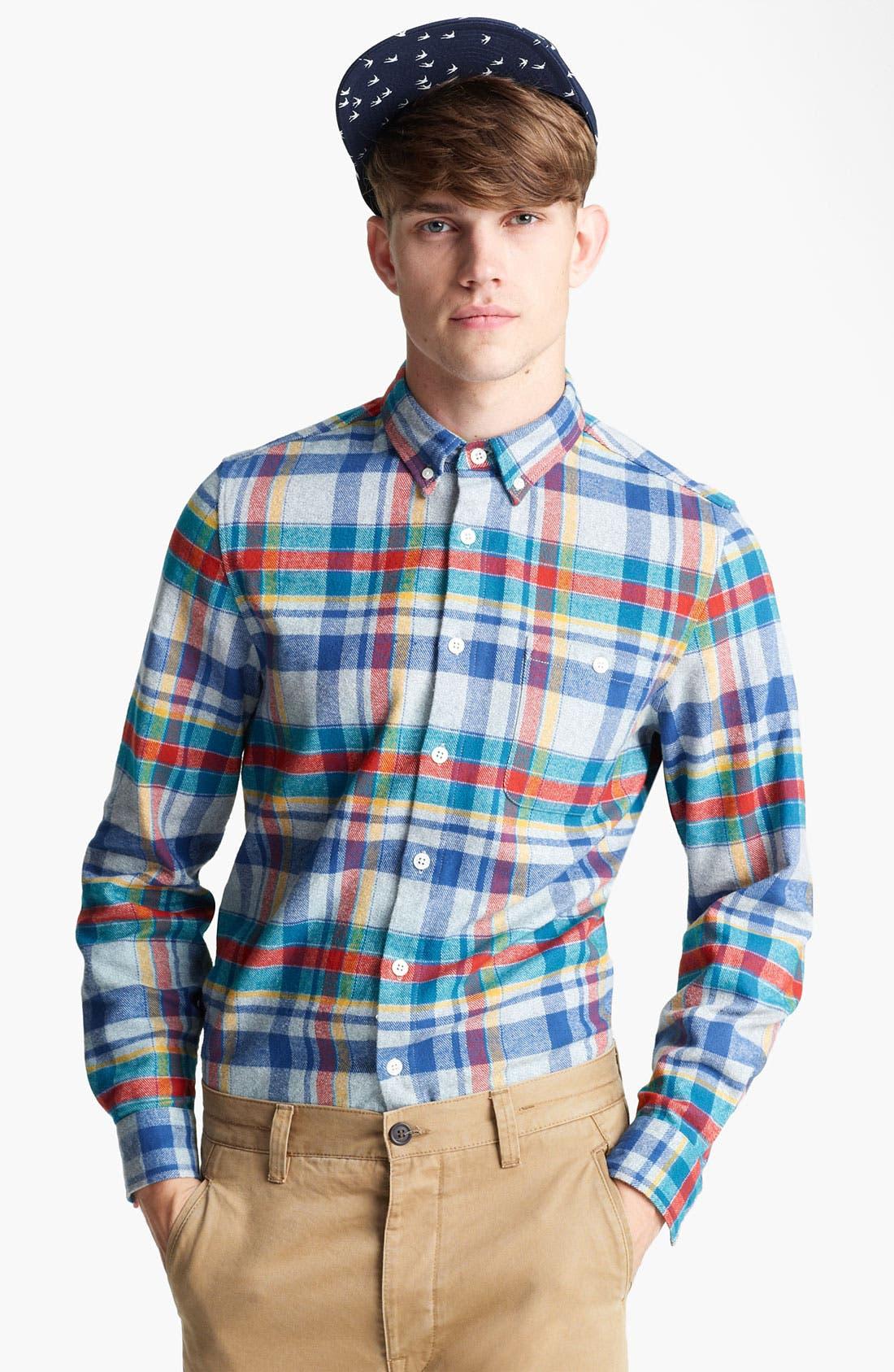 Alternate Image 1 Selected - Topman Plaid Cotton Flannel Shirt