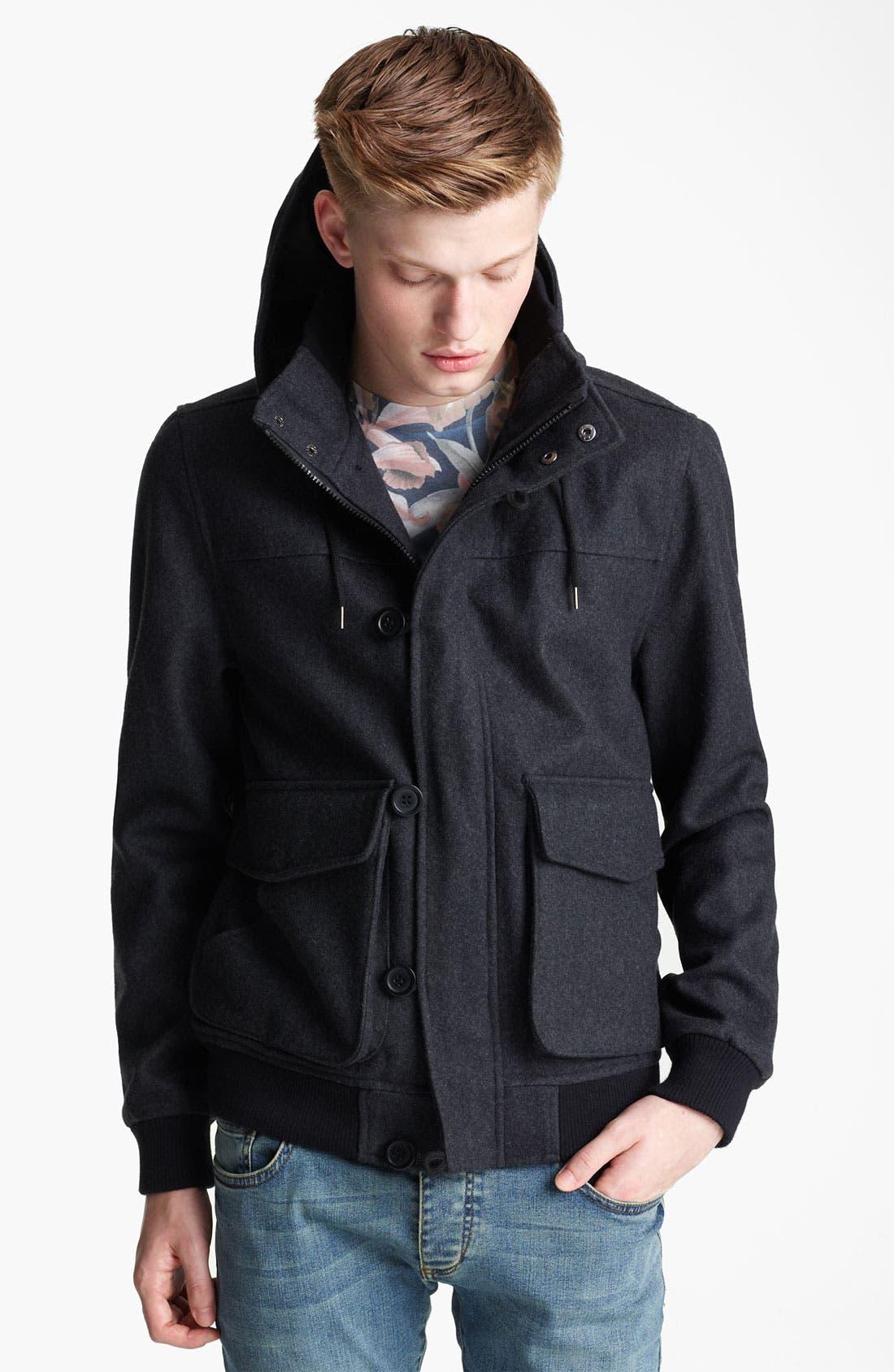 Alternate Image 1 Selected - Topman Hooded Wool Blend Bomber Jacket