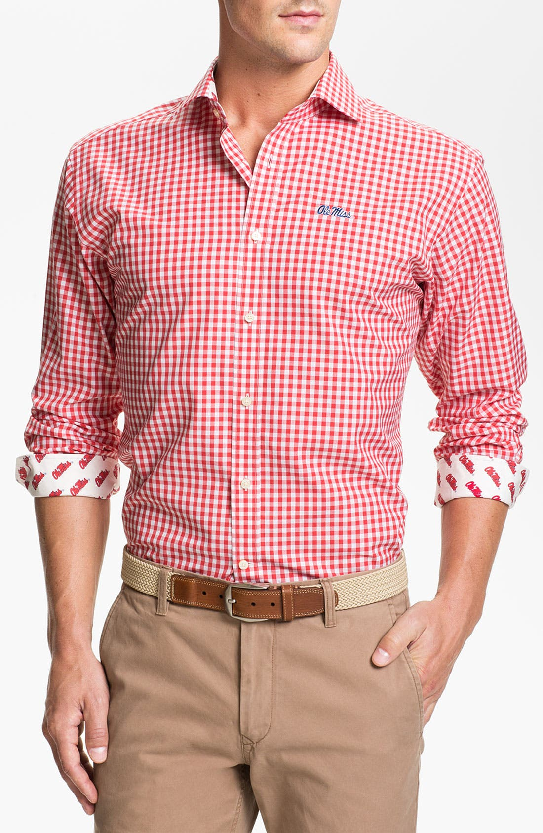 Alternate Image 1 Selected - Thomas Dean 'University of Mississippi' Gingham Sport Shirt