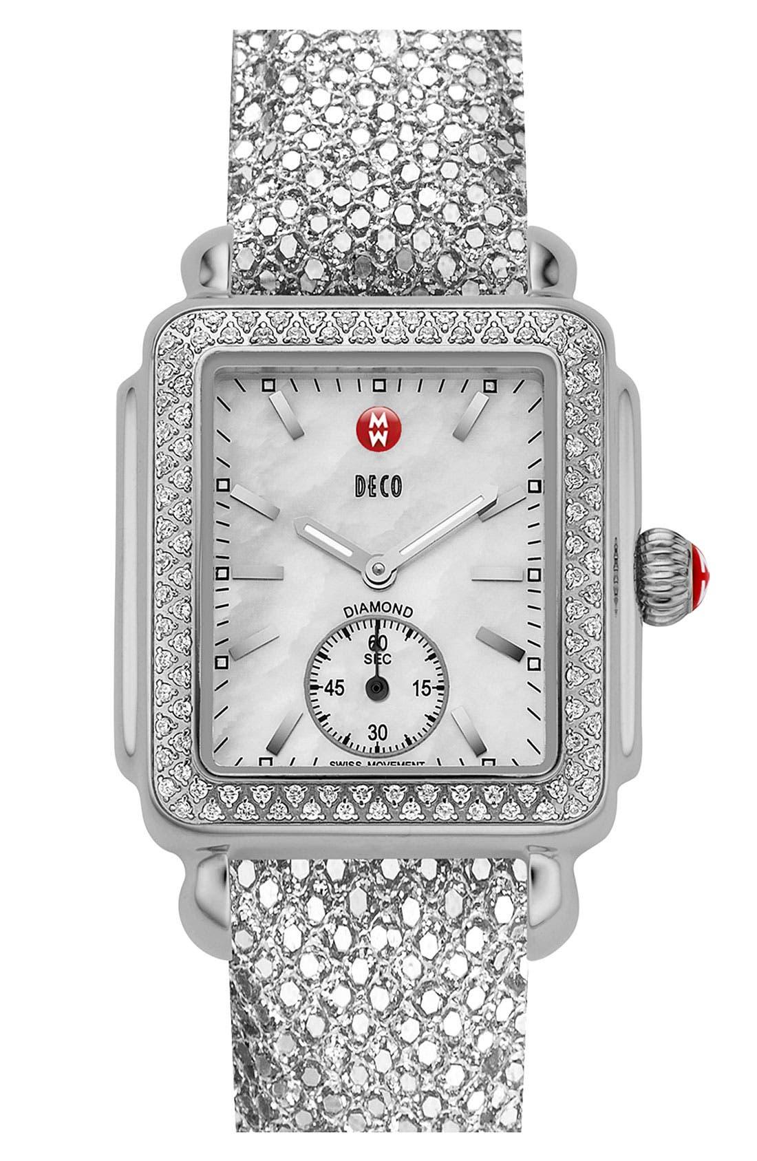 Alternate Image 2  - MICHELE 'Deco 16 Diamond' Customizable Watch