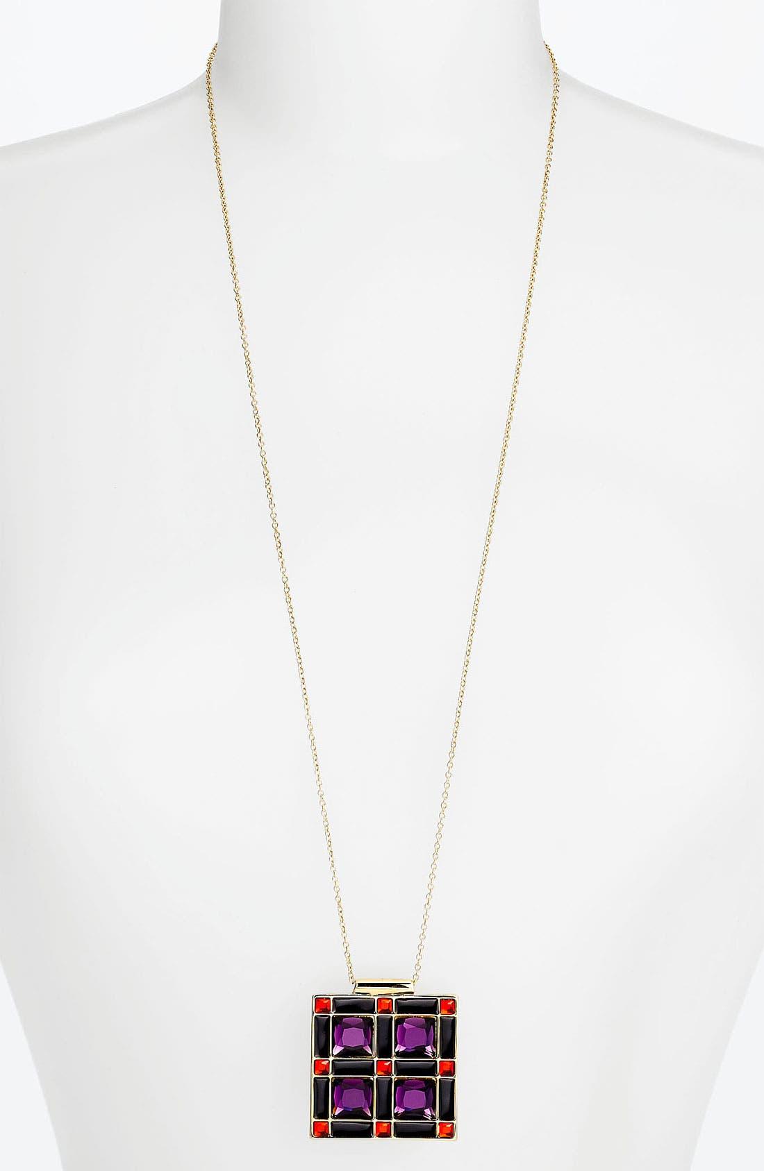 Alternate Image 1 Selected - kate spade new york 'lewitt squares' long pendant necklace