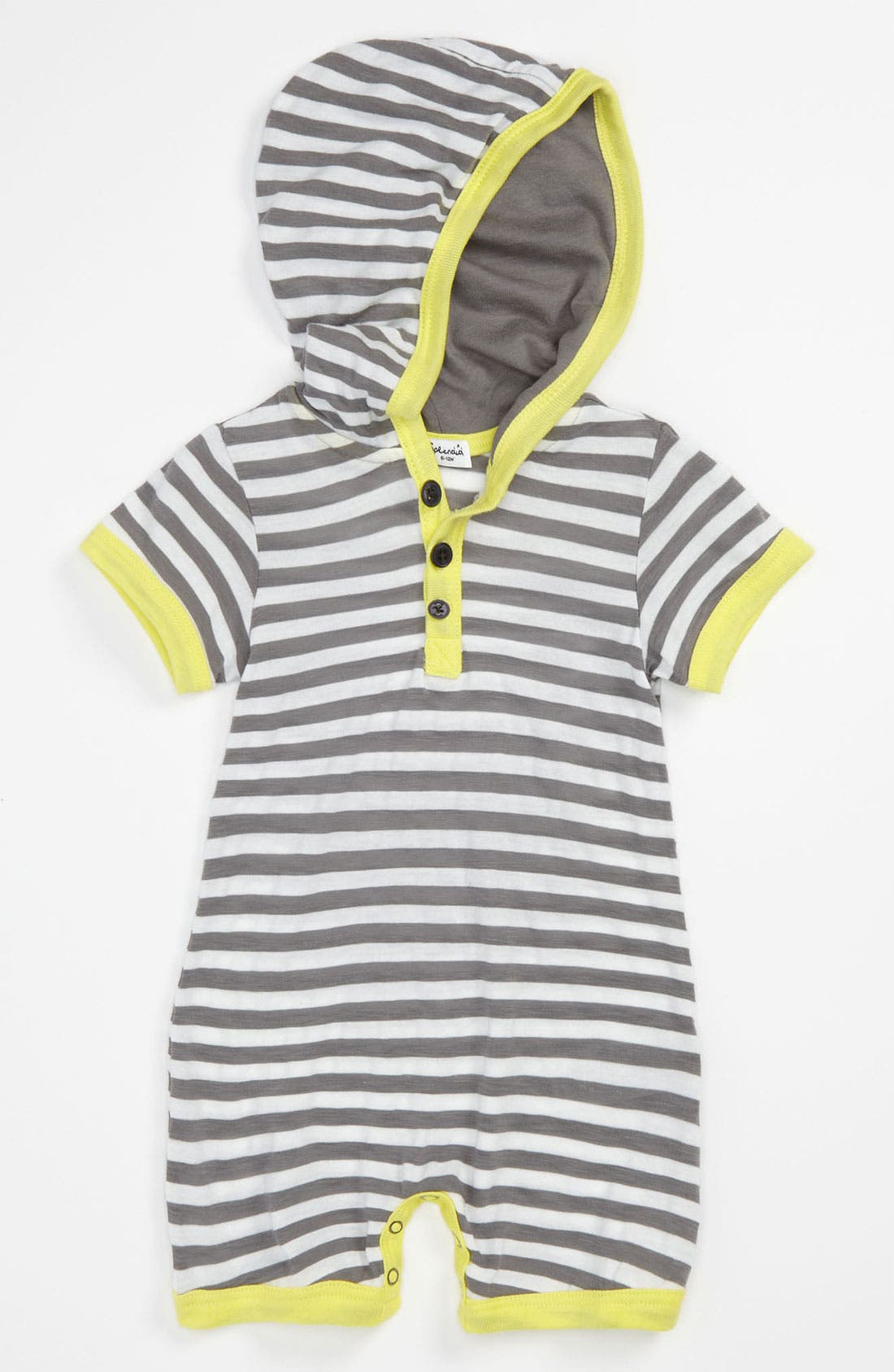 Alternate Image 1 Selected - Splendid Stripe Hooded Romper (Infant)
