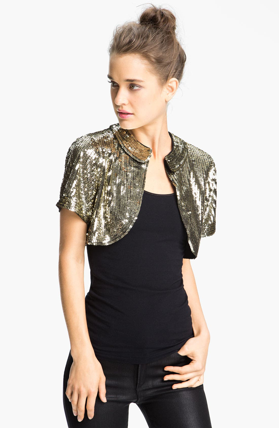 Alternate Image 1 Selected - Eliza J Short Sleeve Sequin Bolero